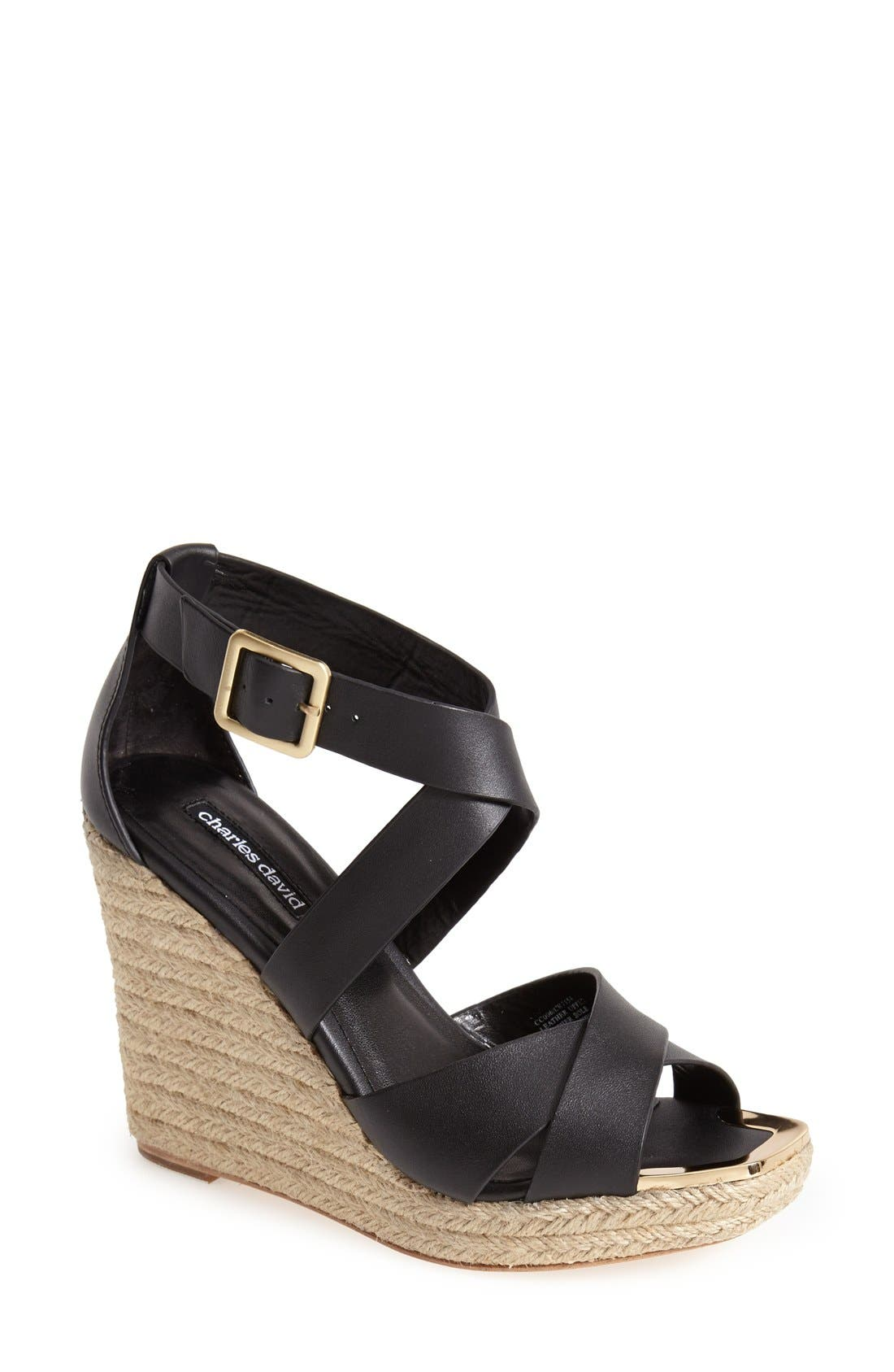 'Olympia' Wedge Sandal,                             Main thumbnail 1, color,                             001