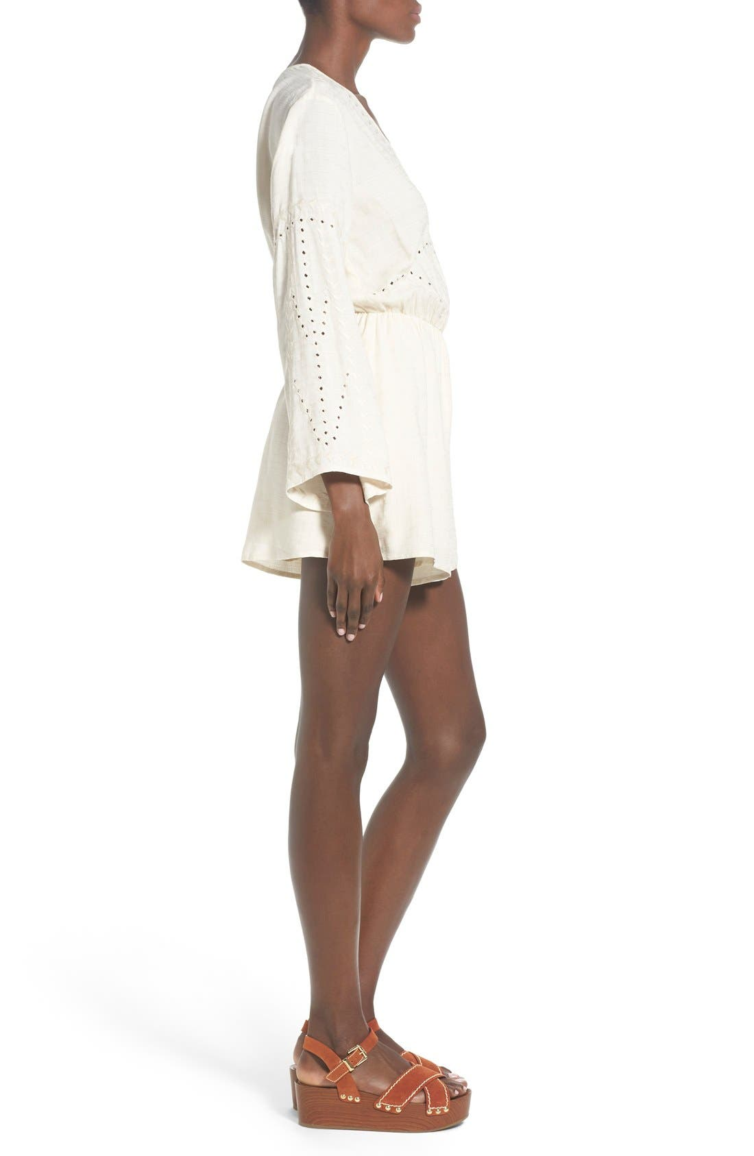ASTR Embroidered Bell Sleeve Romper,                             Alternate thumbnail 5, color,                             902