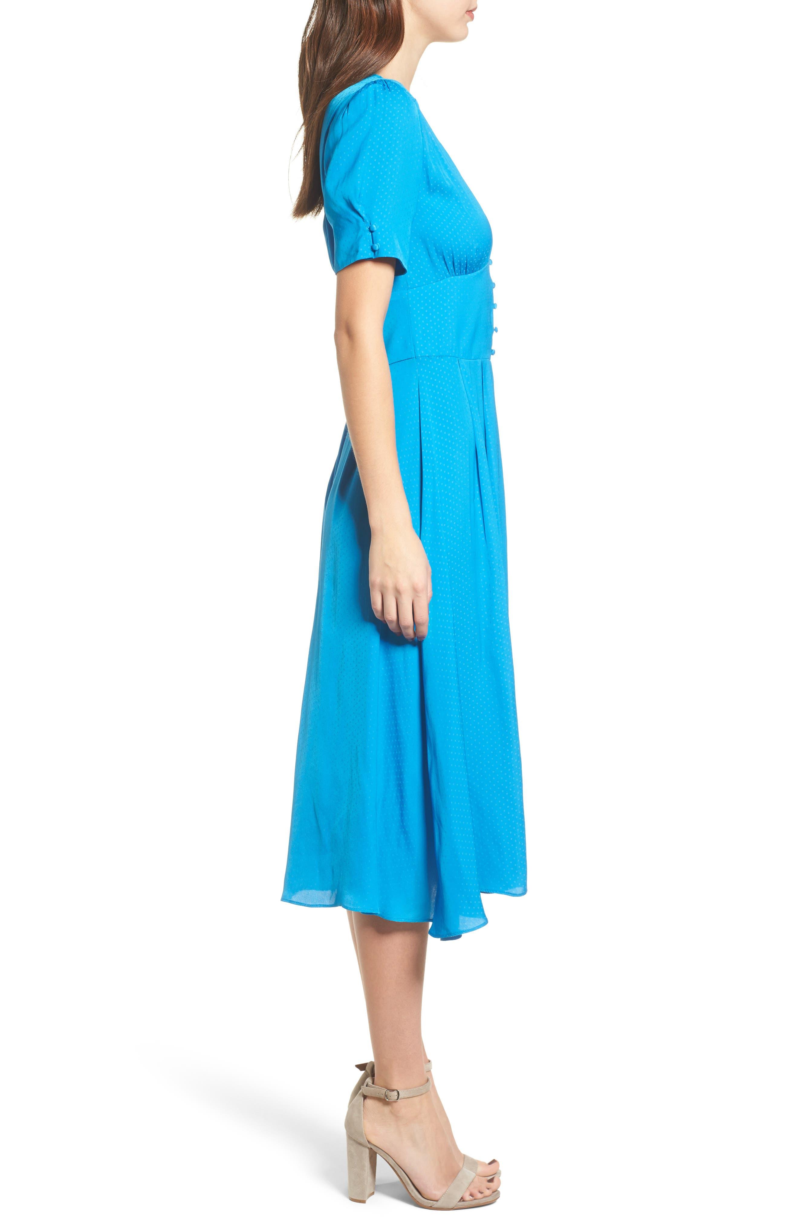 Textured Fit & Flare Midi Dress,                             Alternate thumbnail 3, color,                             420