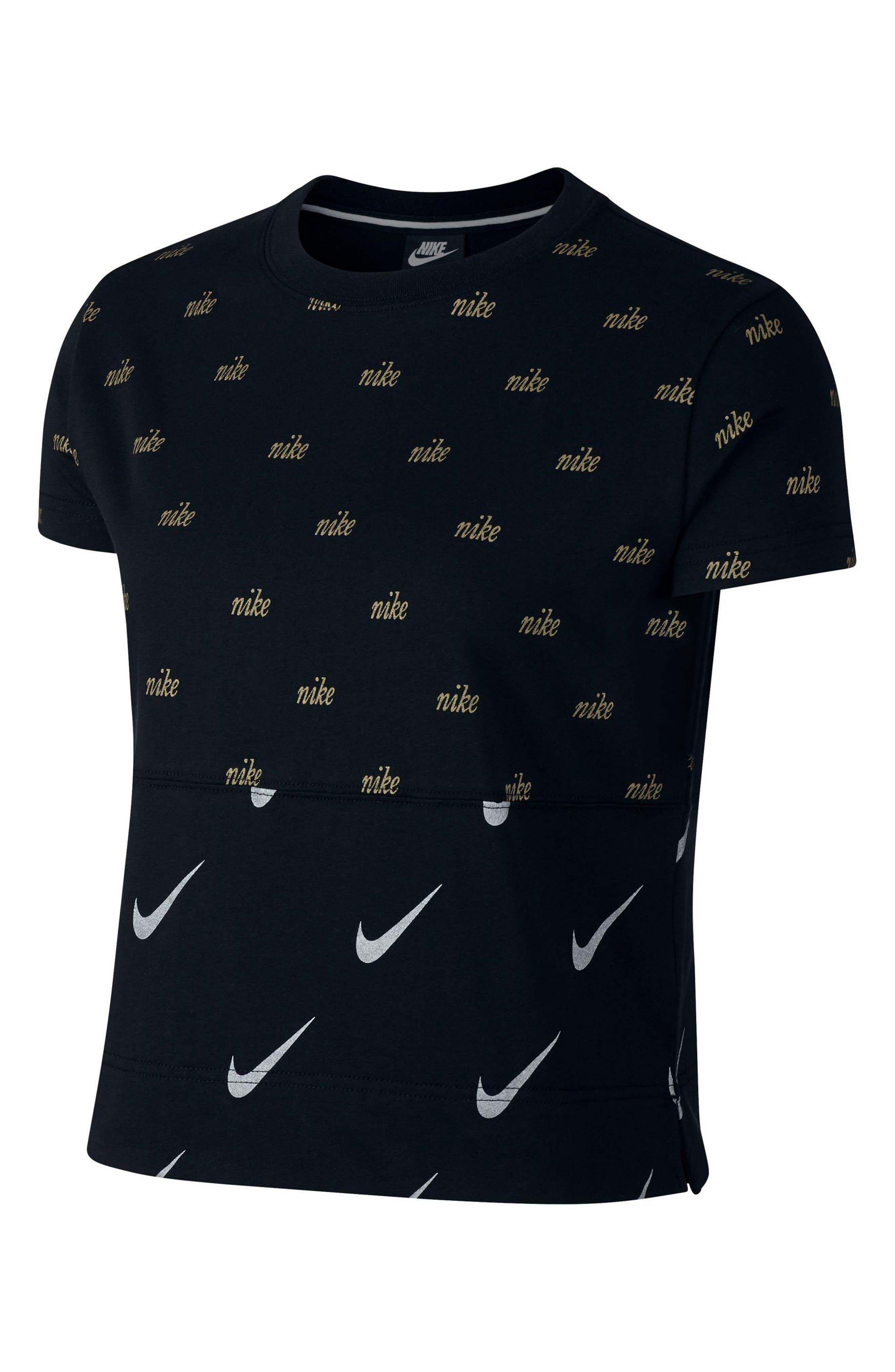 Sportswear Metallic Logo Tee,                             Main thumbnail 1, color,                             BLACK