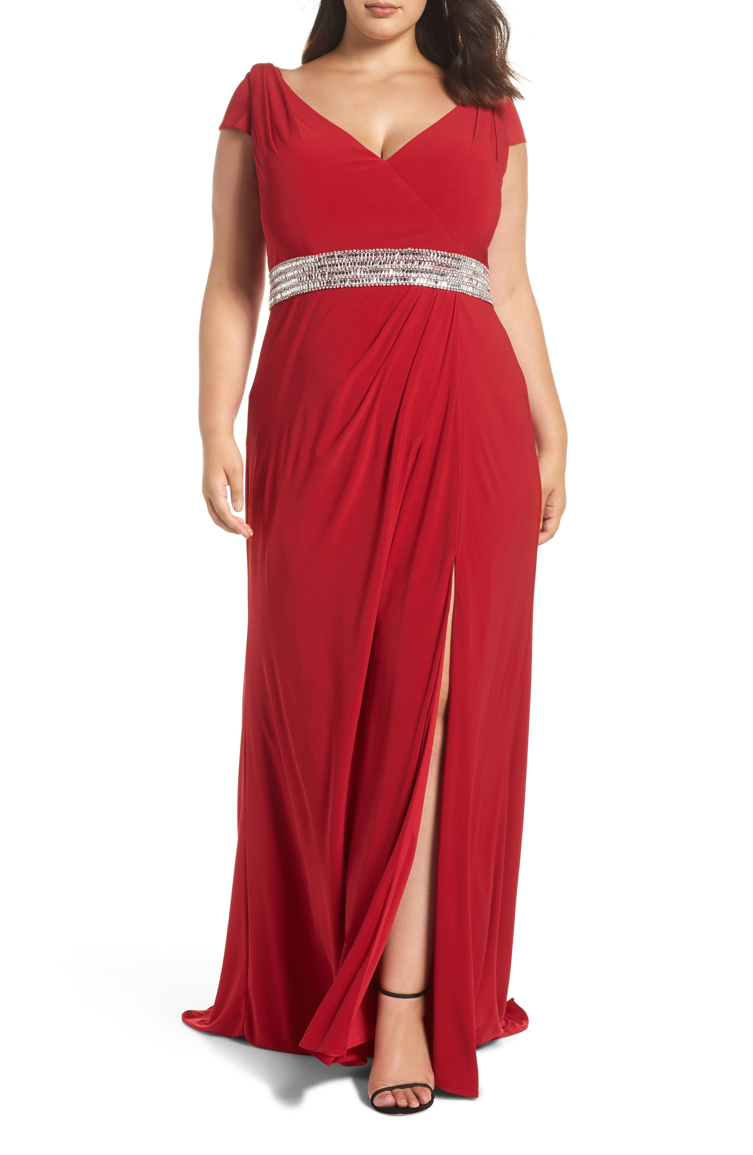 MAC DUGGAL Mac Dugall Embellished Gown in Red