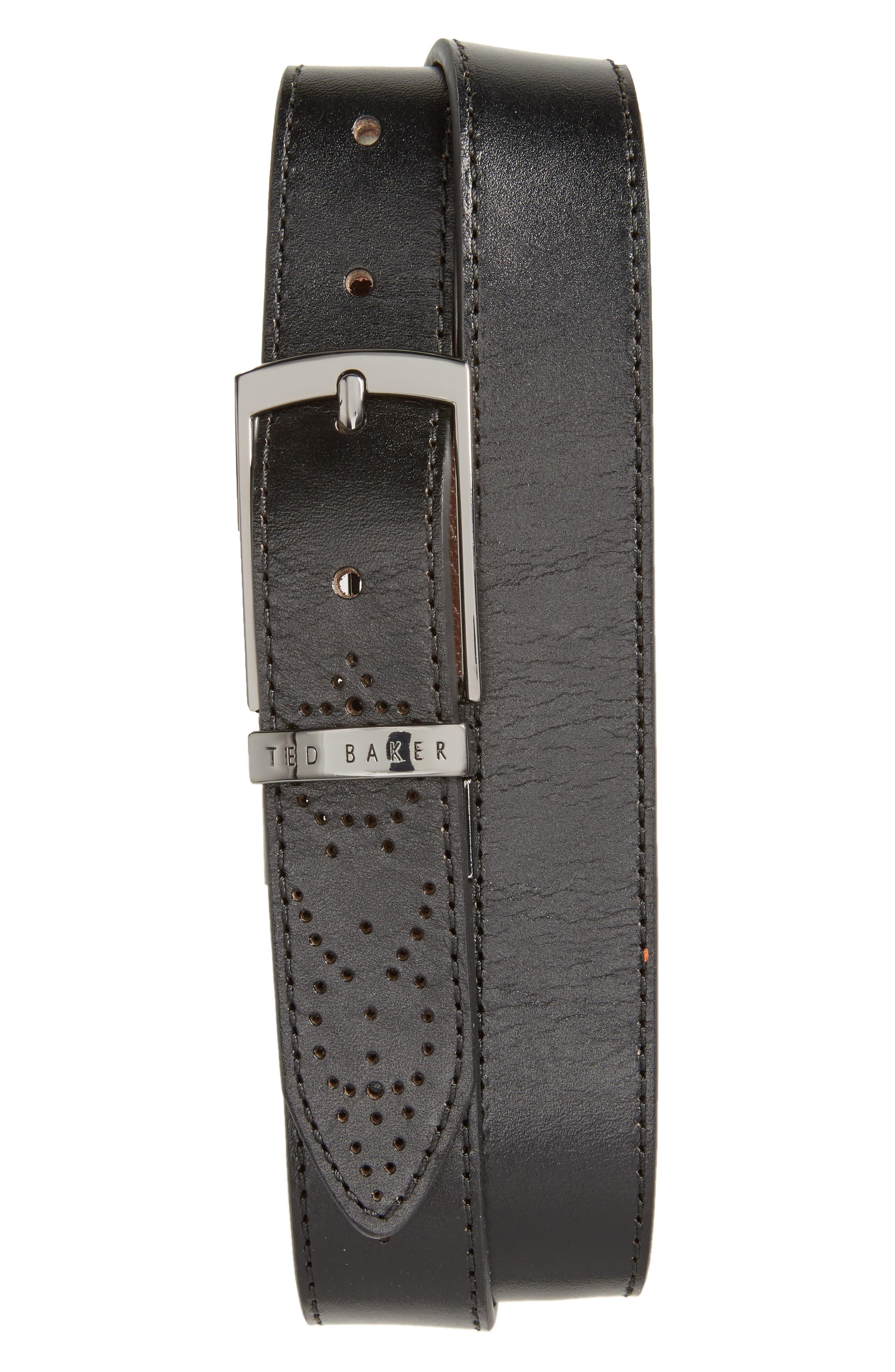 Boxwood Leather Belt,                         Main,                         color, 001