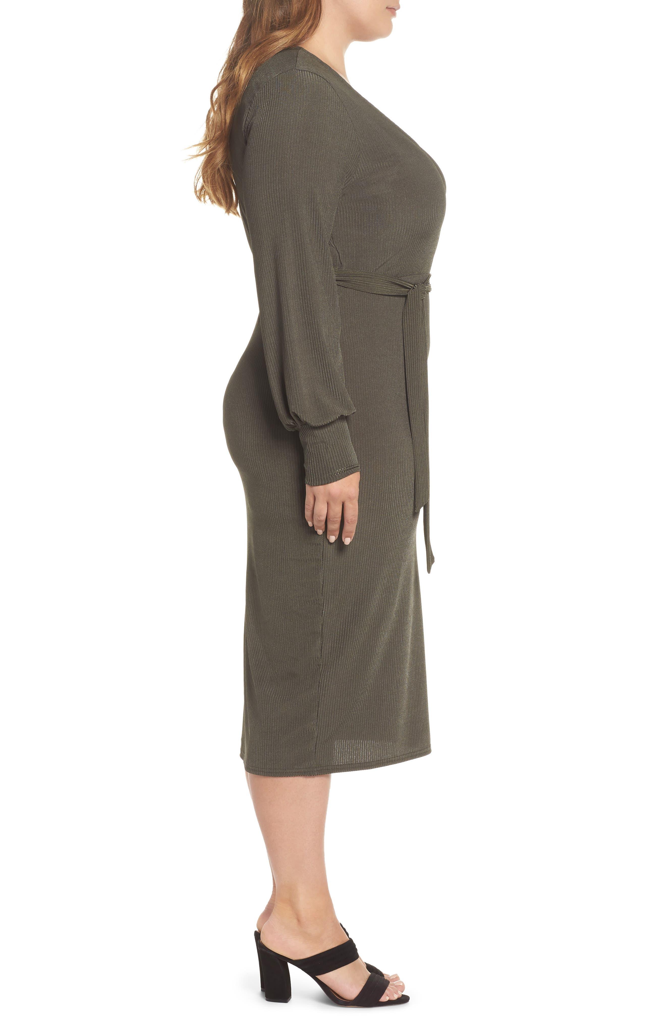 Ribbed Faux Wrap Dress,                             Alternate thumbnail 3, color,                             300
