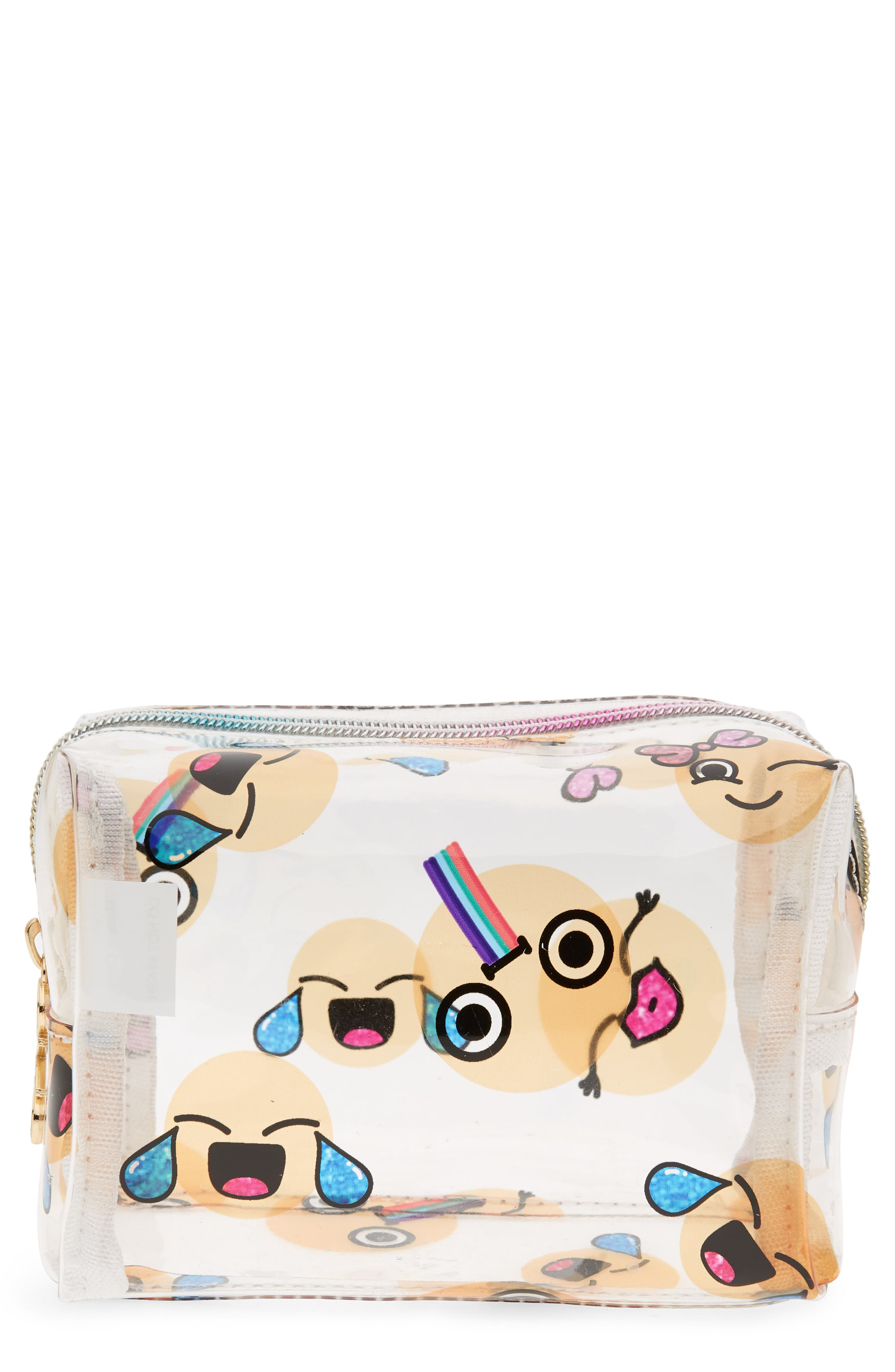Emoji Cosmetics Case,                             Main thumbnail 1, color,                             100
