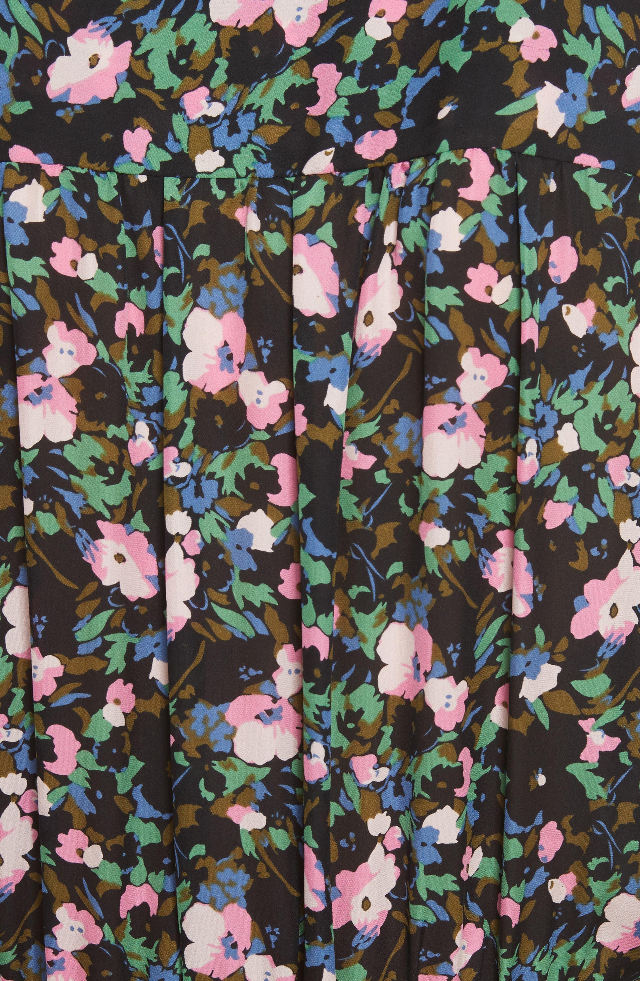 Naomi Floral Print Silk Dress,                             Alternate thumbnail 5, color,