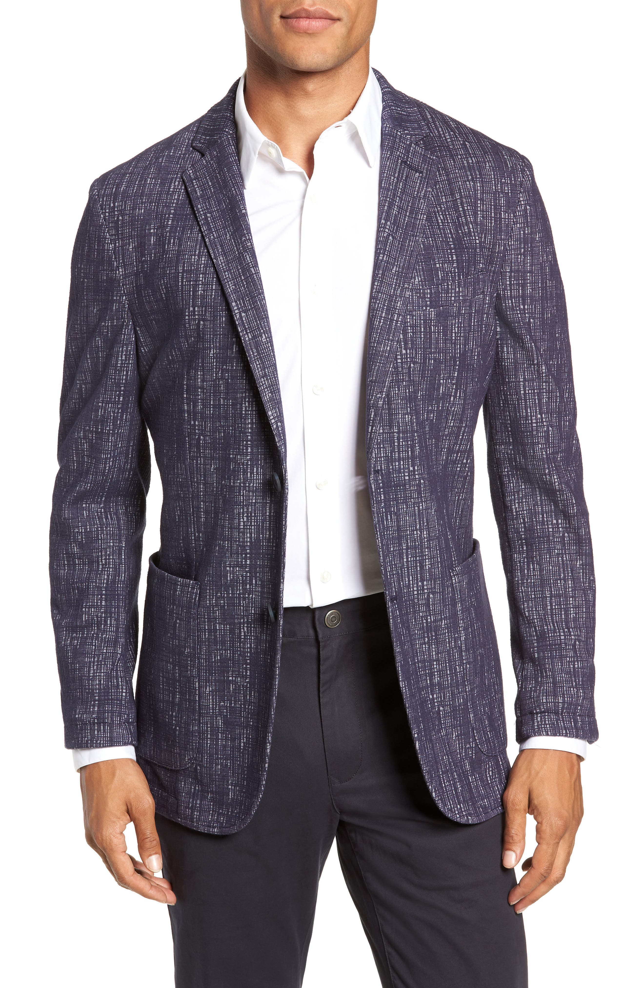 VINCE CAMUTO,                             Mesh Pattern Slim Fit Sport Coat,                             Main thumbnail 1, color,                             BLUE