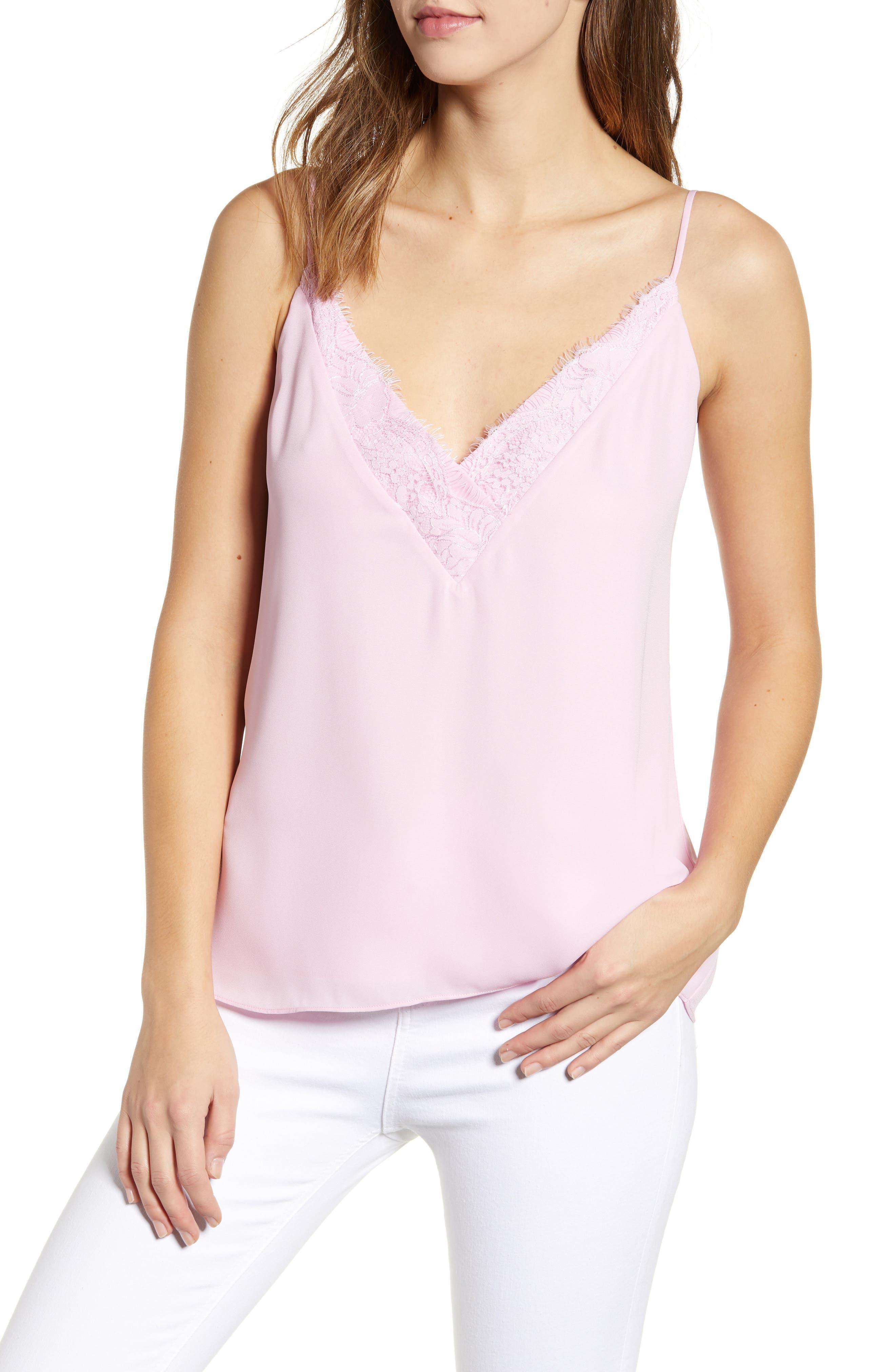 Socialite Lace Trim Camisole Top, Pink