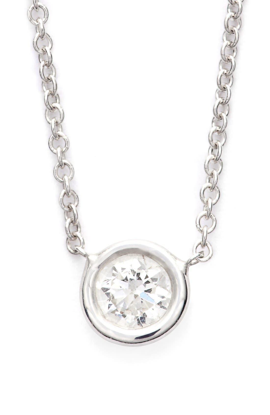 Medium Diamond Solitaire Pendant Necklace,                             Main thumbnail 1, color,                             711