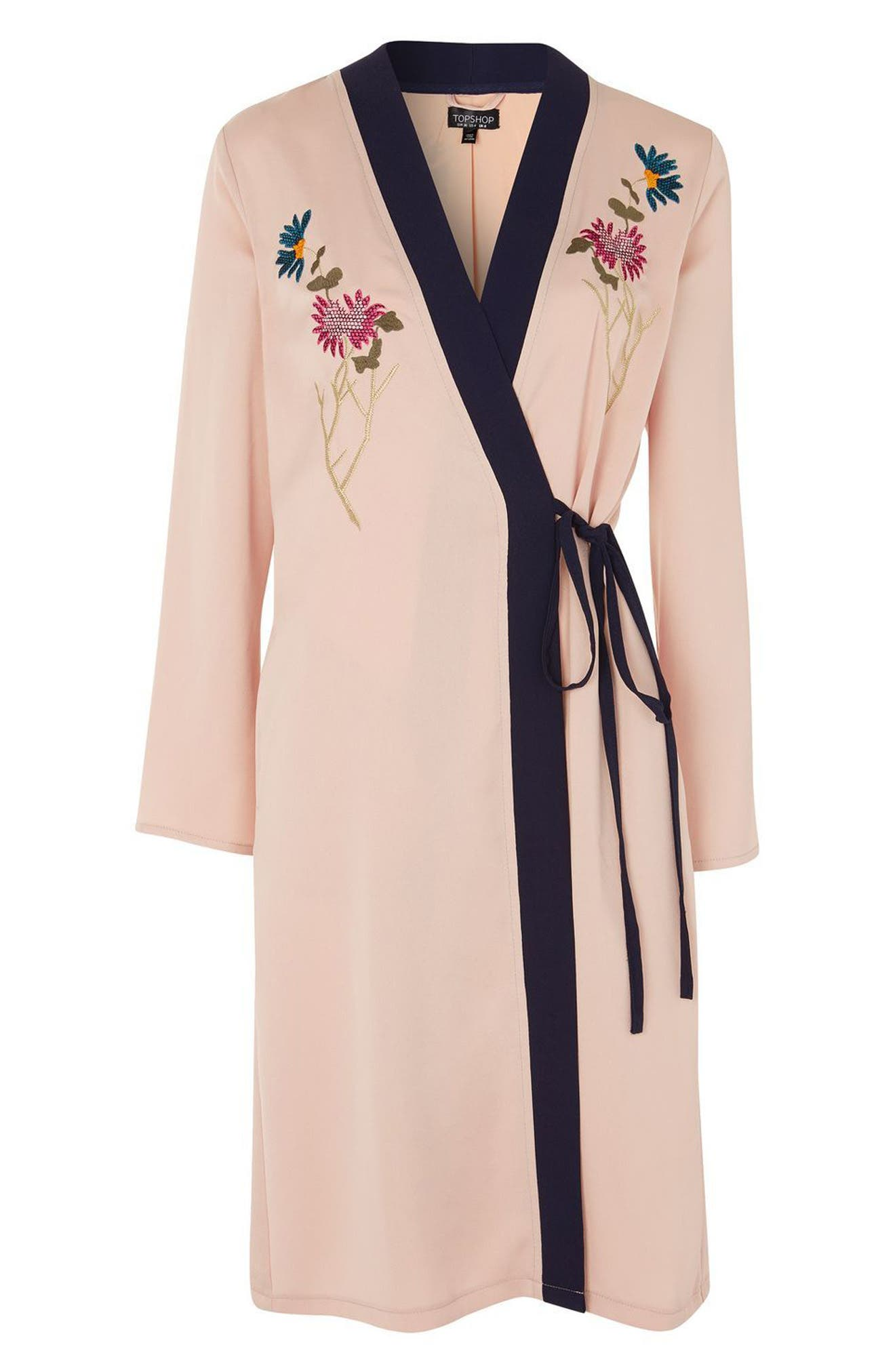 Tiger Embroidered Duster Coat,                             Alternate thumbnail 4, color,                             250