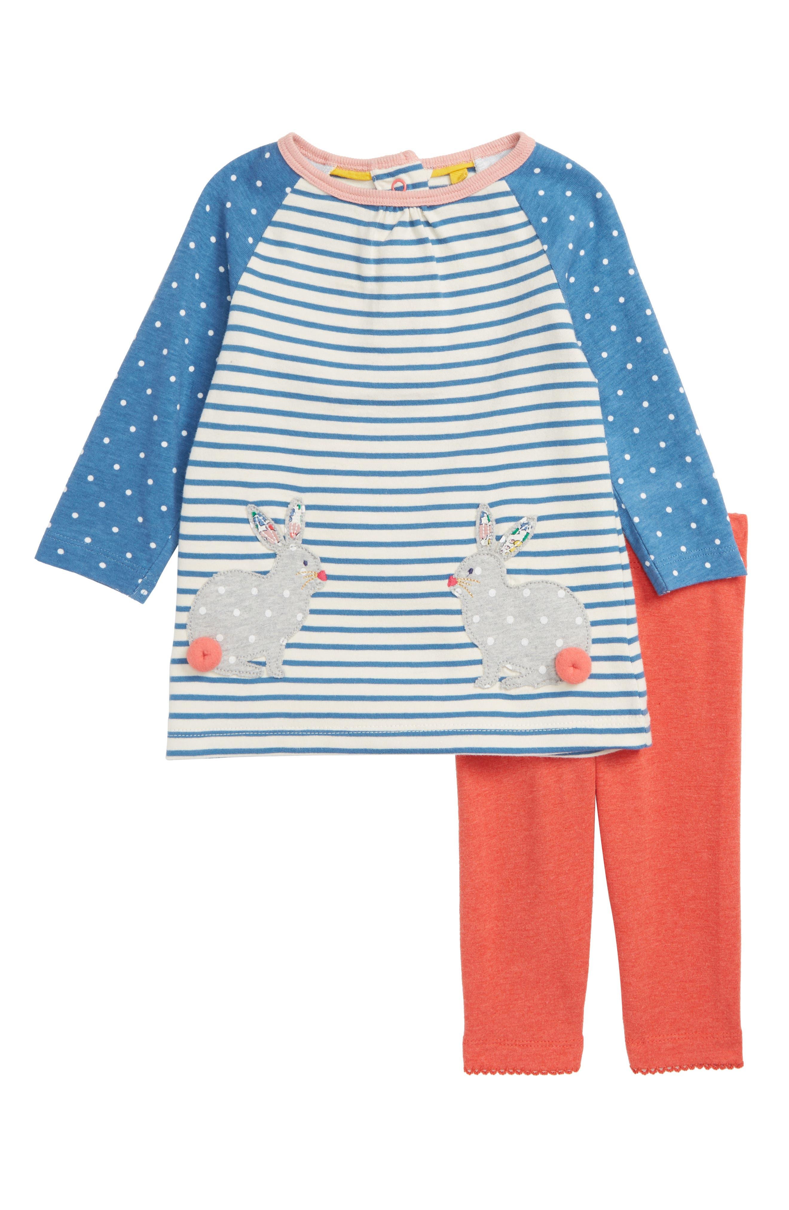 Appliqué Dress & Leggings Set,                         Main,                         color, AZURE/ BUNNIES