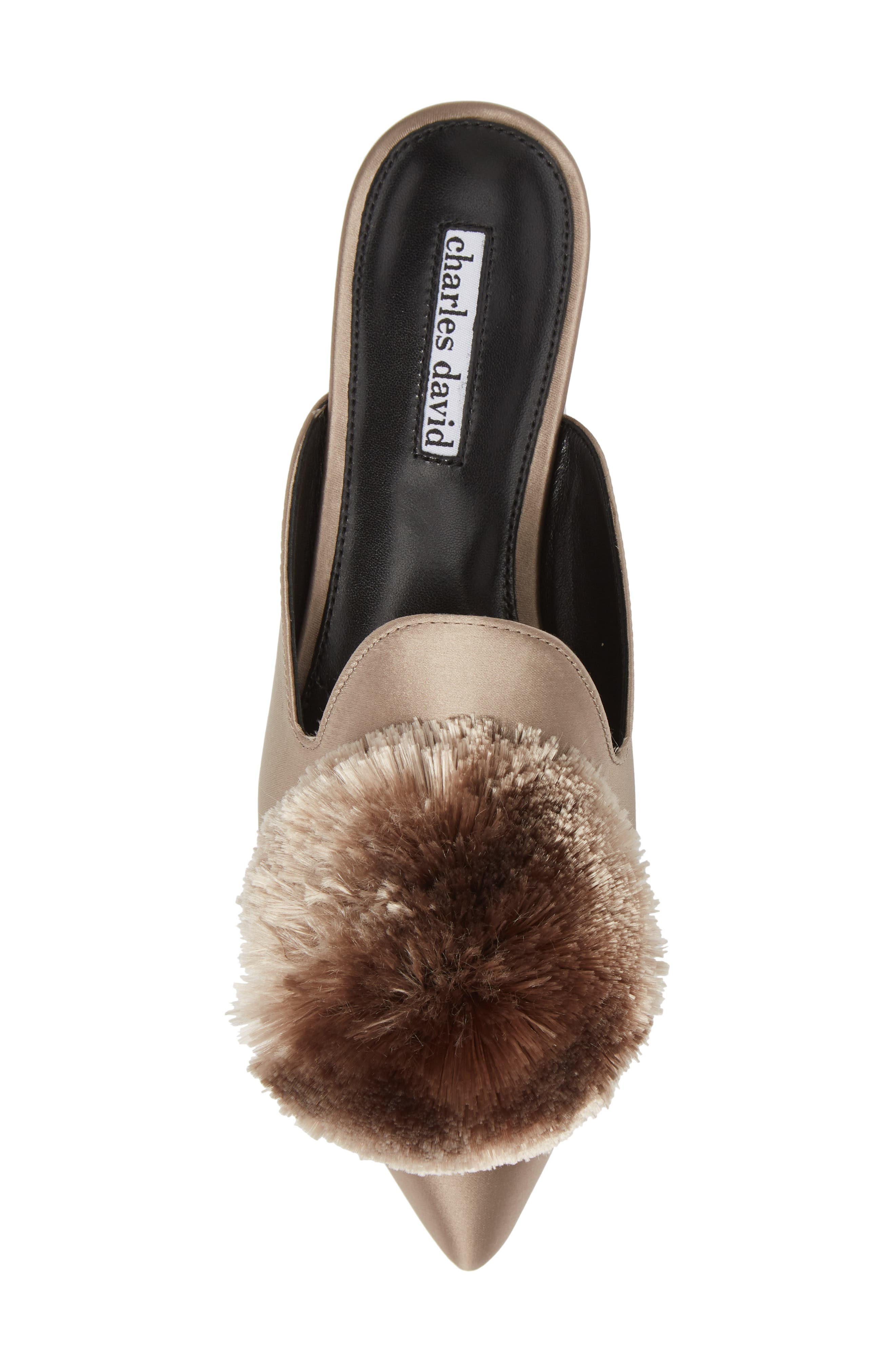 Wella Pompom Loafer Mule,                             Alternate thumbnail 5, color,                             TAUPE SATIN