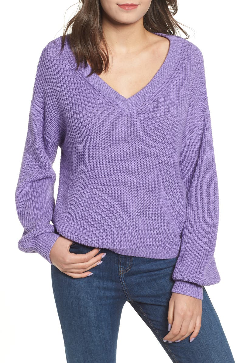 V Neck Cotton Sweater,                         Main,                         color, PURPLE DAHLIA