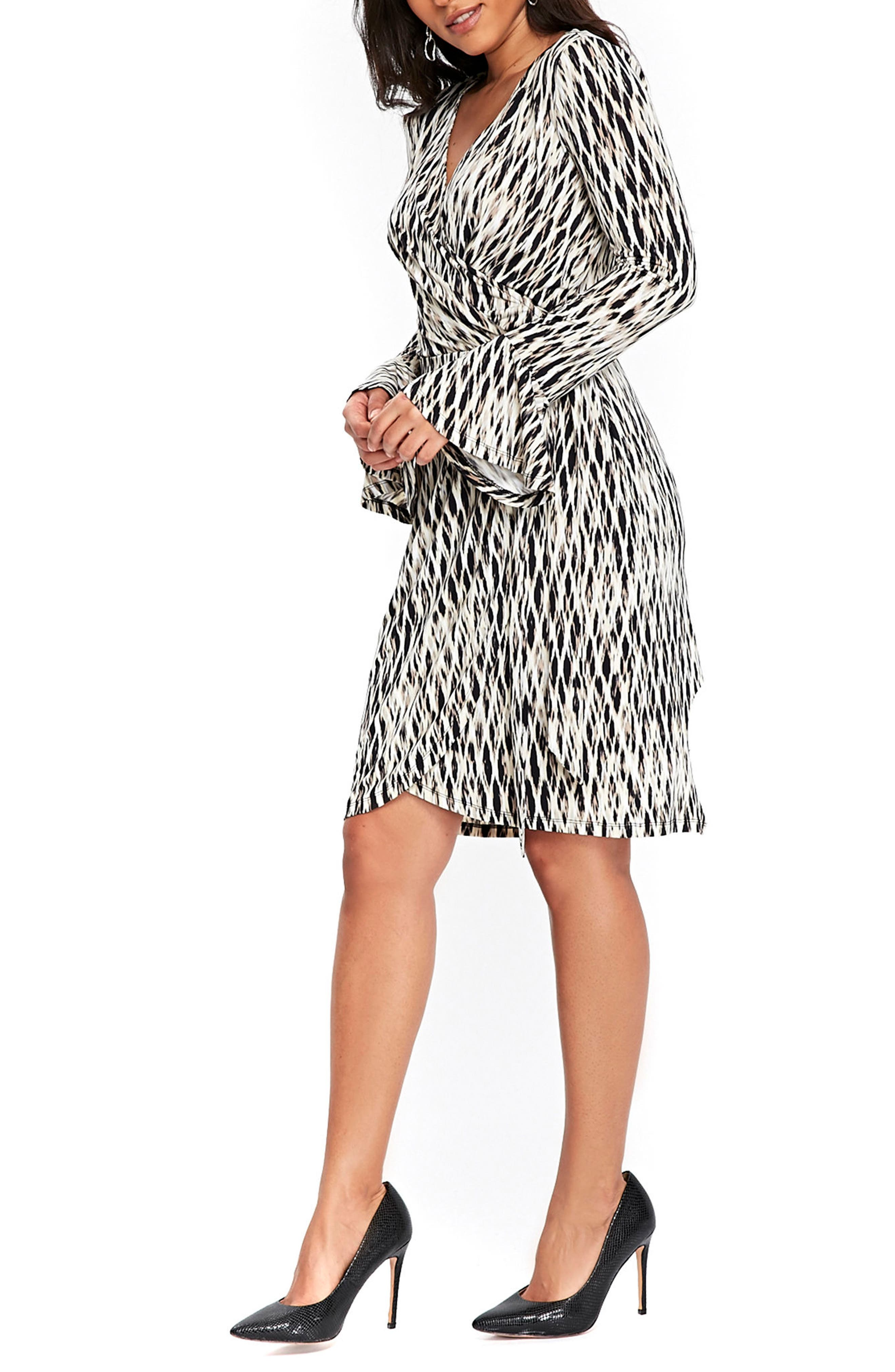 Geo Print Bell Sleeve Wrap Dress,                             Alternate thumbnail 3, color,                             001