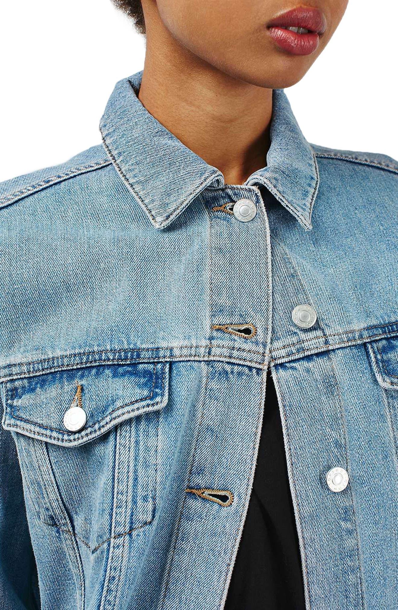 Longline Denim Jacket,                             Alternate thumbnail 3, color,                             400