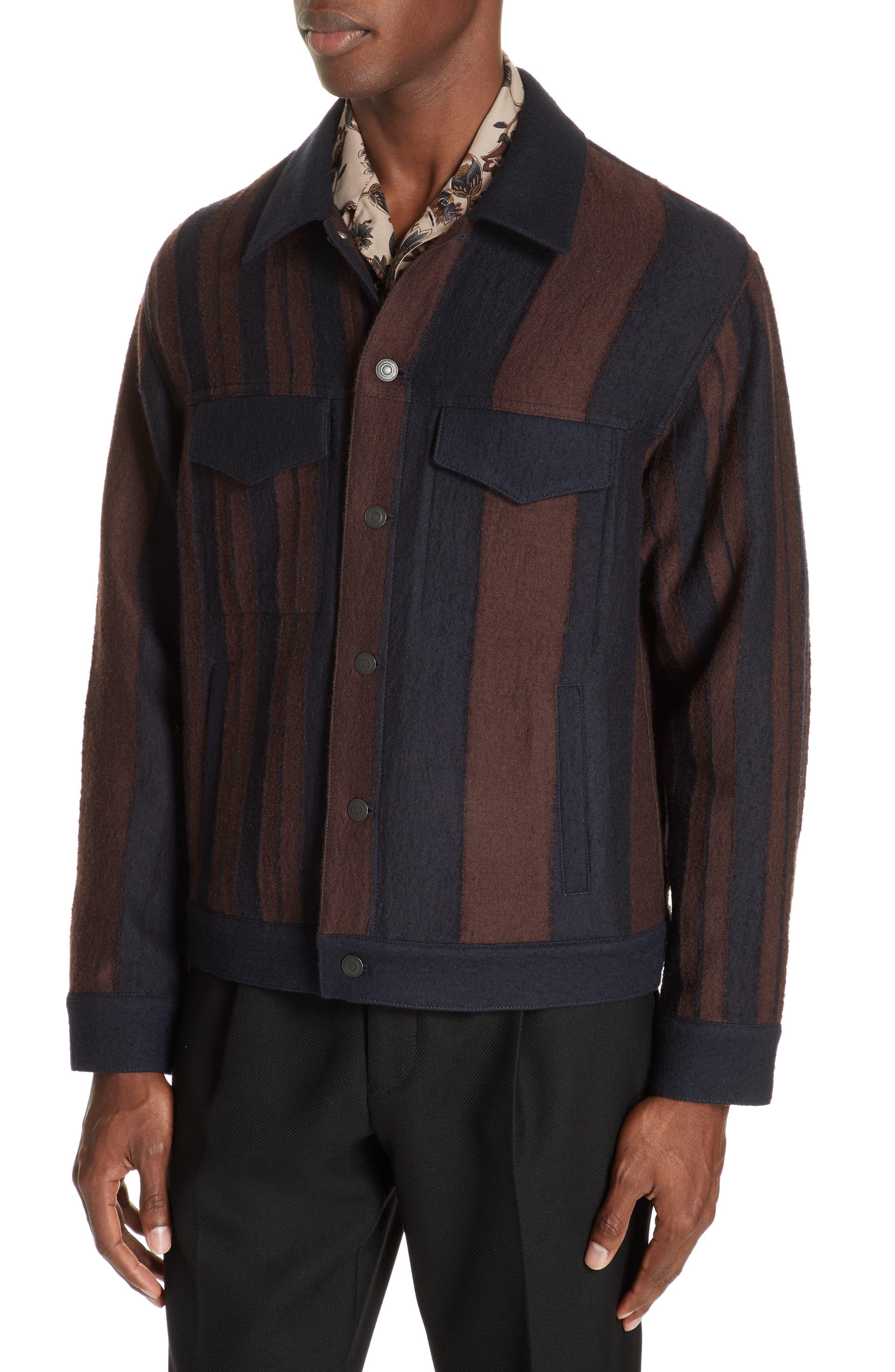 Stripe Wool Blend Jacket,                             Alternate thumbnail 4, color,                             001