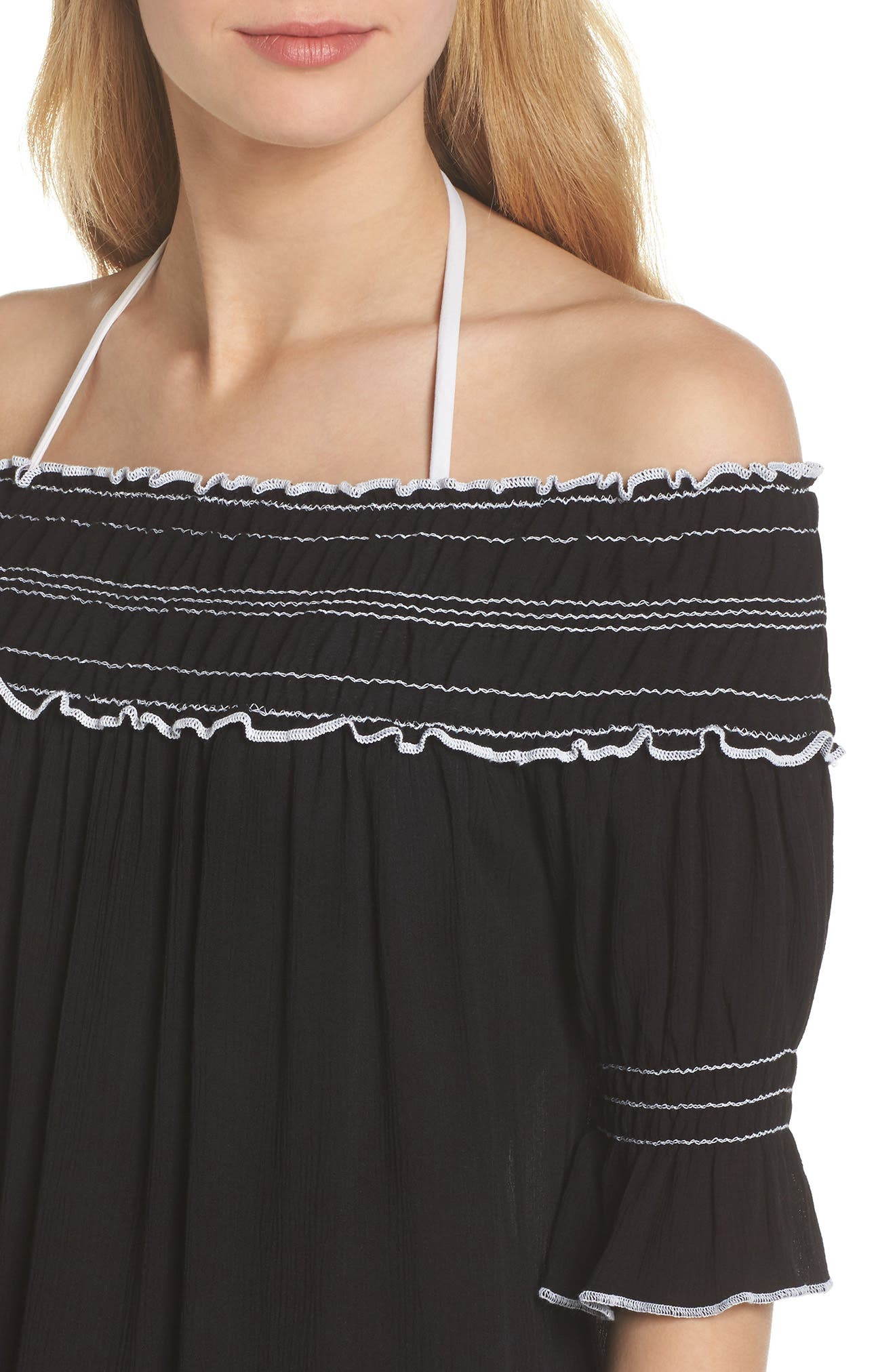 Nightingale Off the Shoulder Cover-Up Dress,                             Alternate thumbnail 4, color,                             001