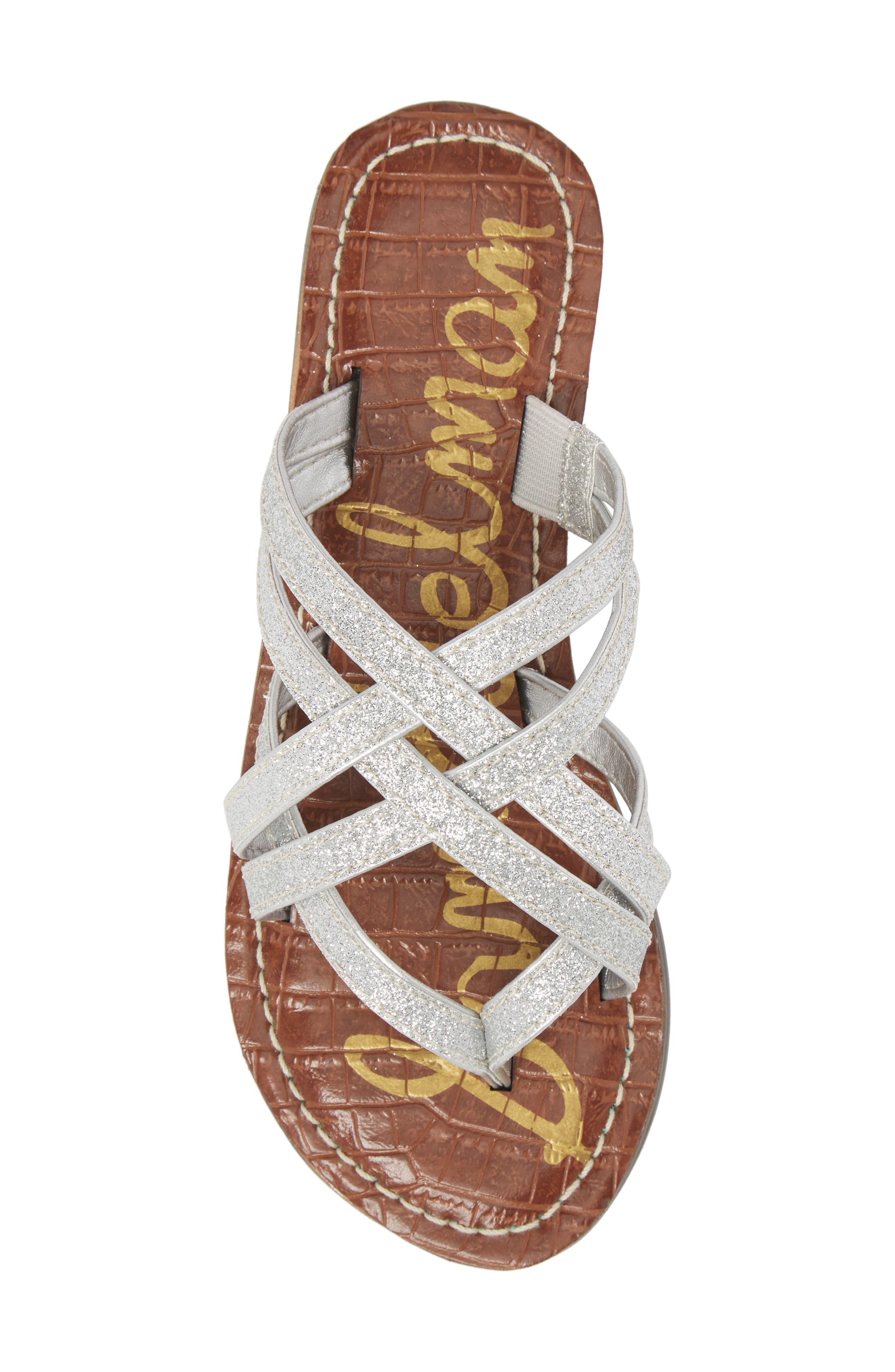 Georgette Glitter Flat Sandal,                             Alternate thumbnail 5, color,                             040