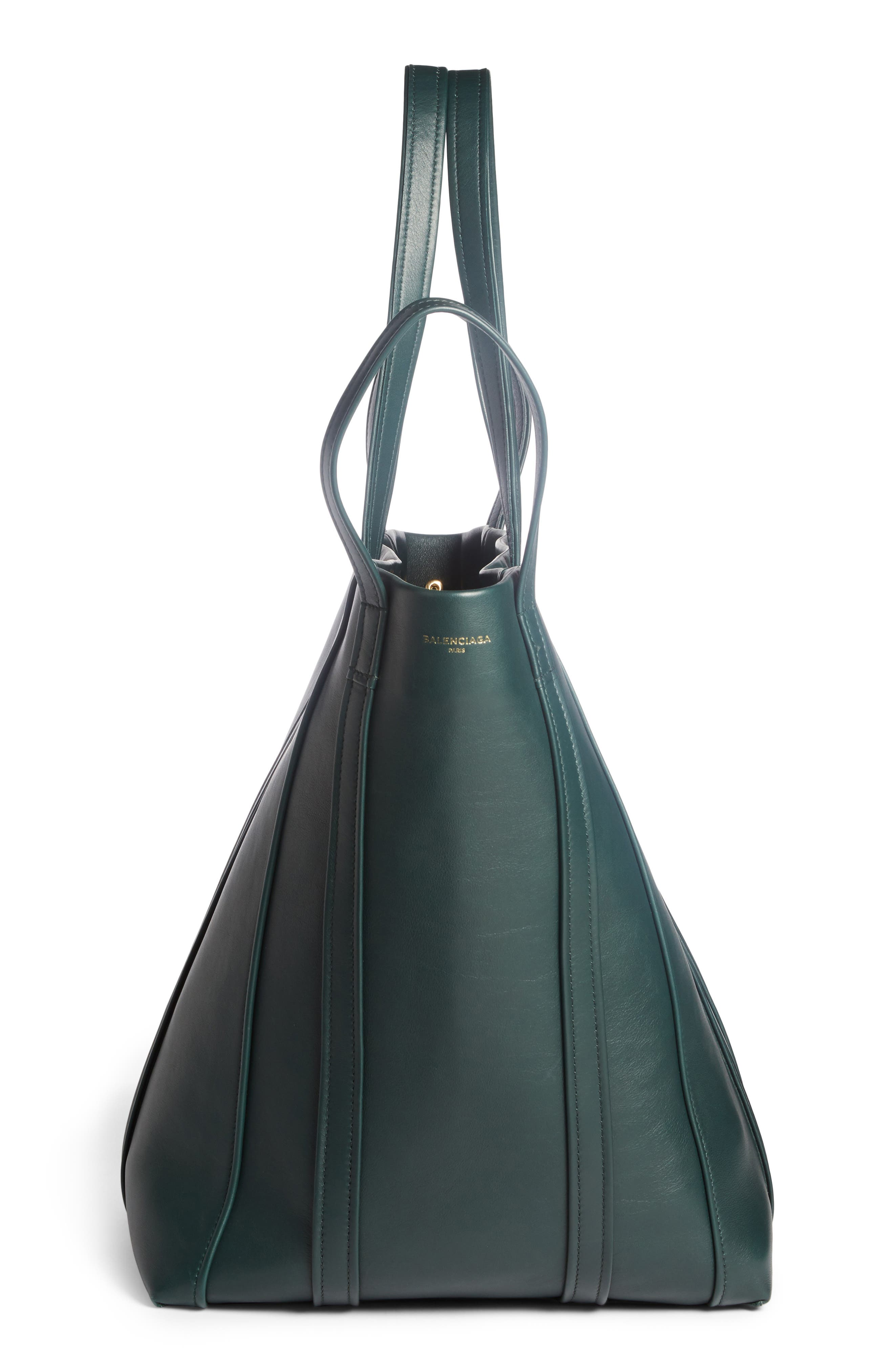 Large Laundry Cabas Calfskin Tote,                             Alternate thumbnail 3, color,                             VERT CYPRES