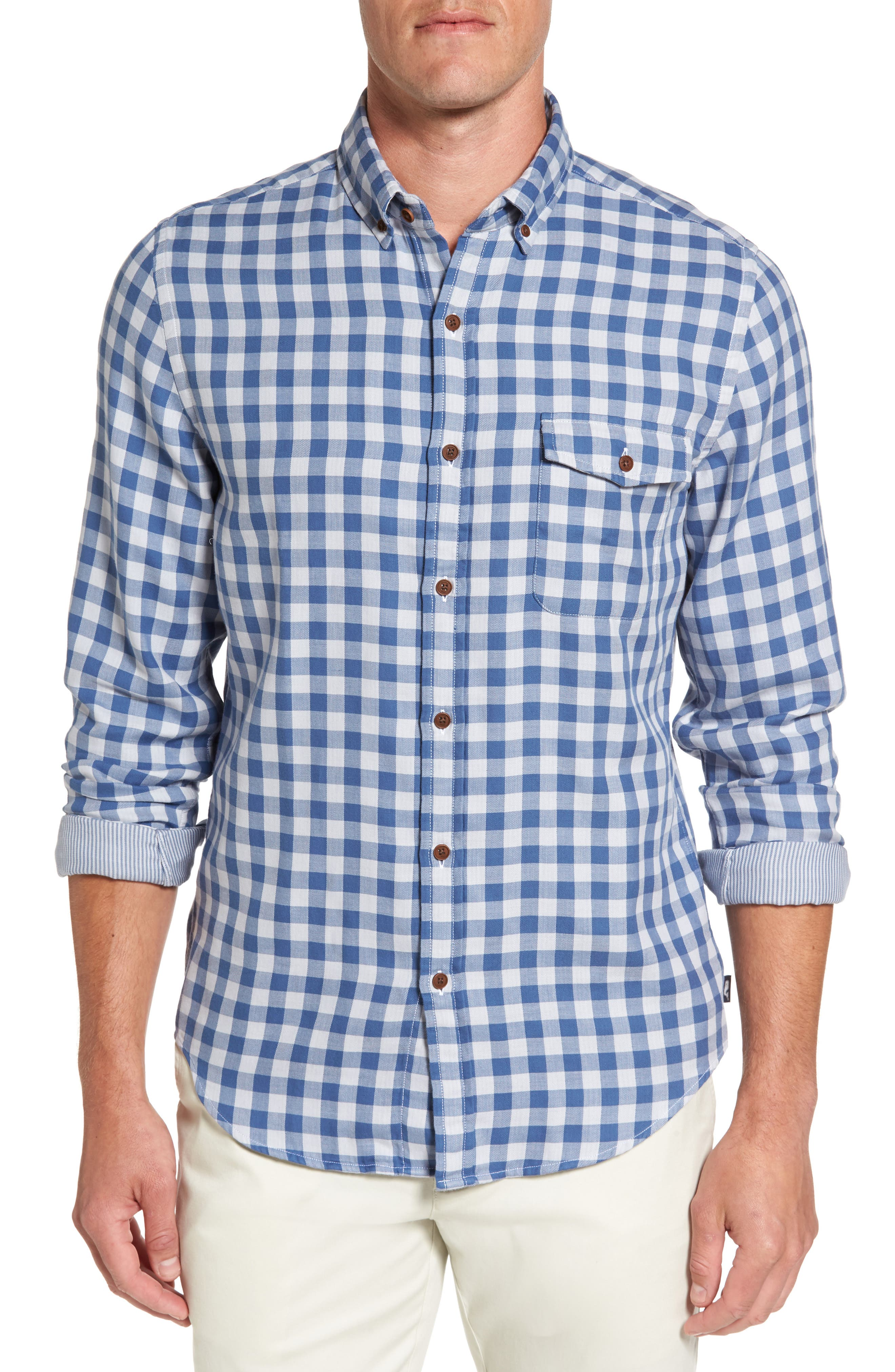 Crosby Slim Blue Heron Gingham Sport Shirt,                         Main,                         color, 461