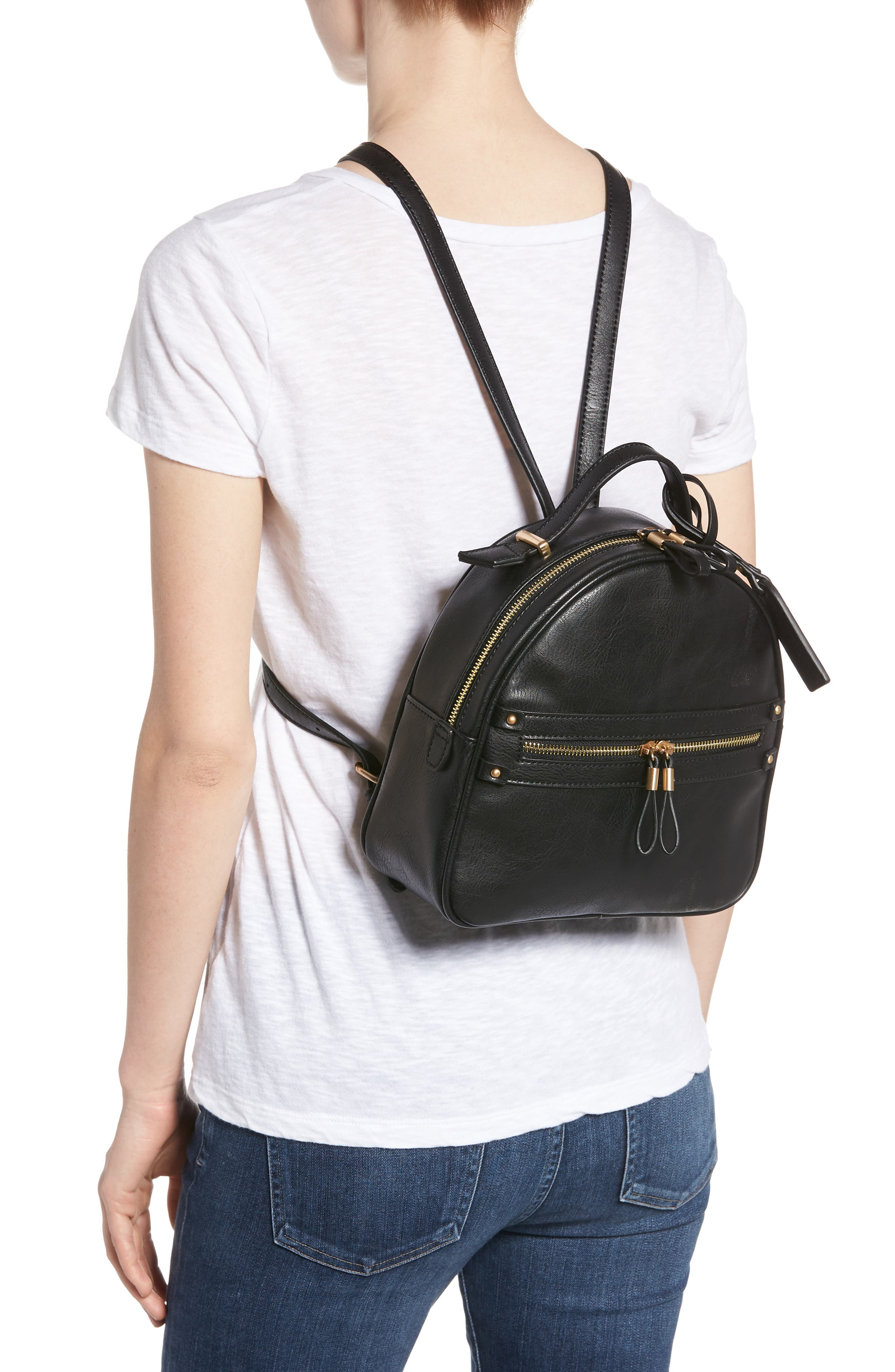 Zypa Faux Leather Backpack,                             Alternate thumbnail 2, color,                             BLACK