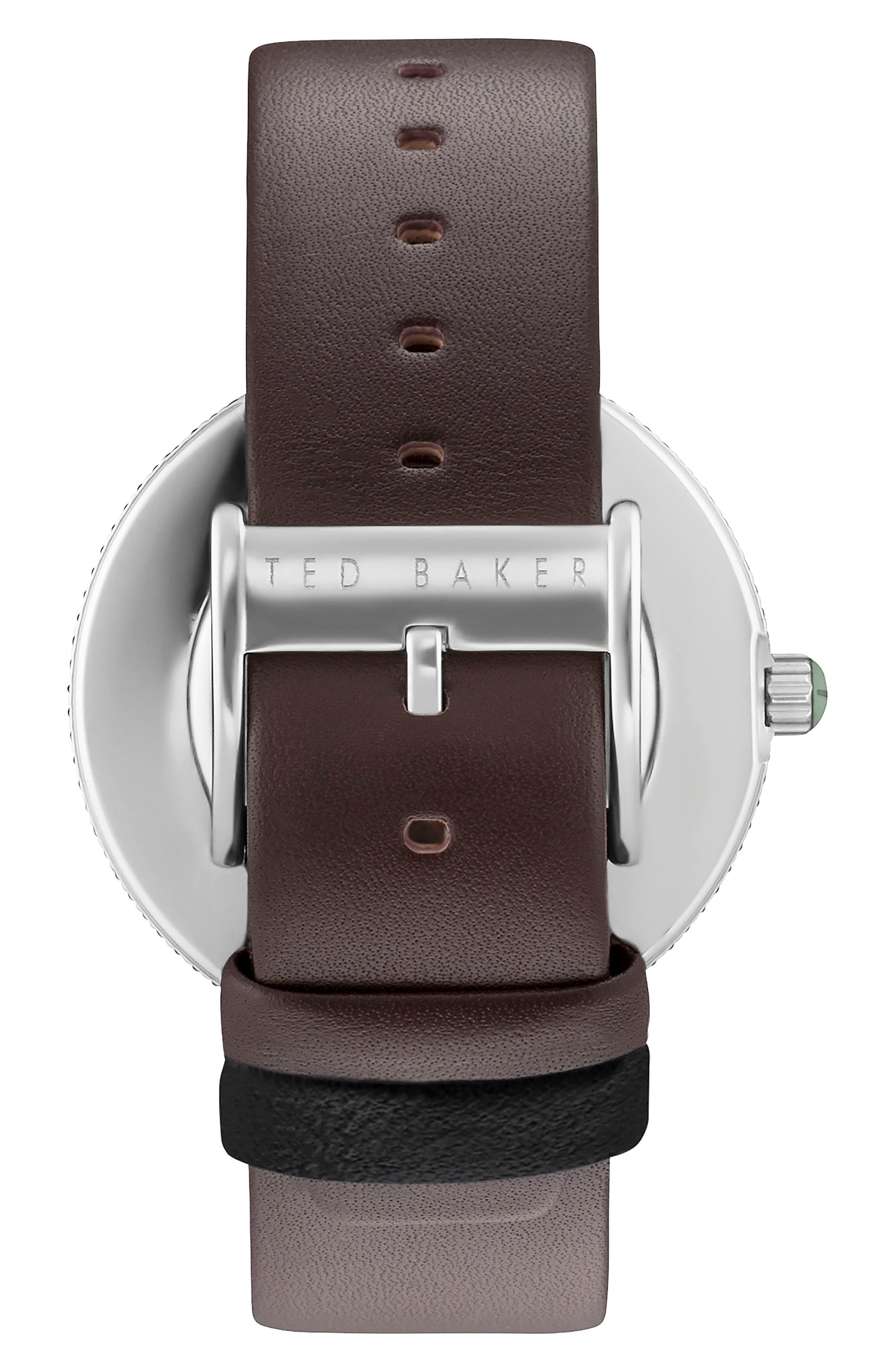 Jack Multifunction Leather Strap Watch, 42mm,                             Alternate thumbnail 2, color,                             BLUE/ BROWN