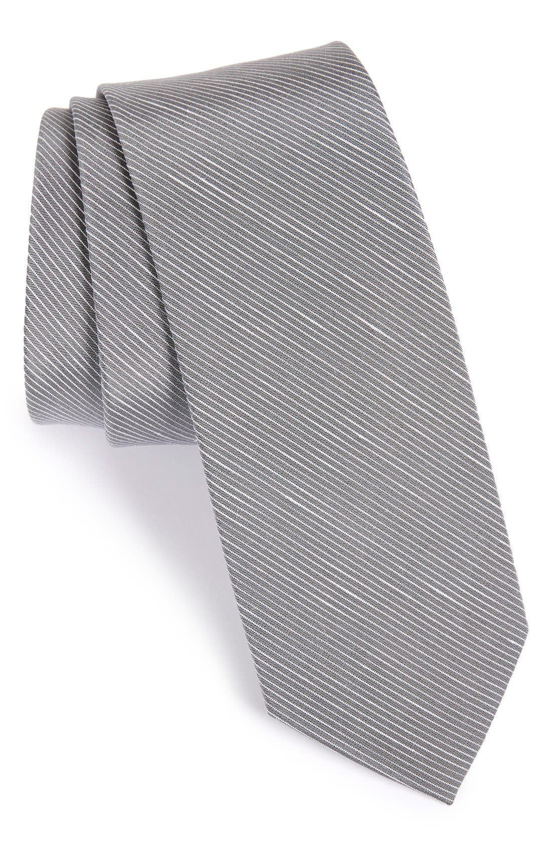 Pinstripe Silk & Linen Tie,                         Main,                         color, 040