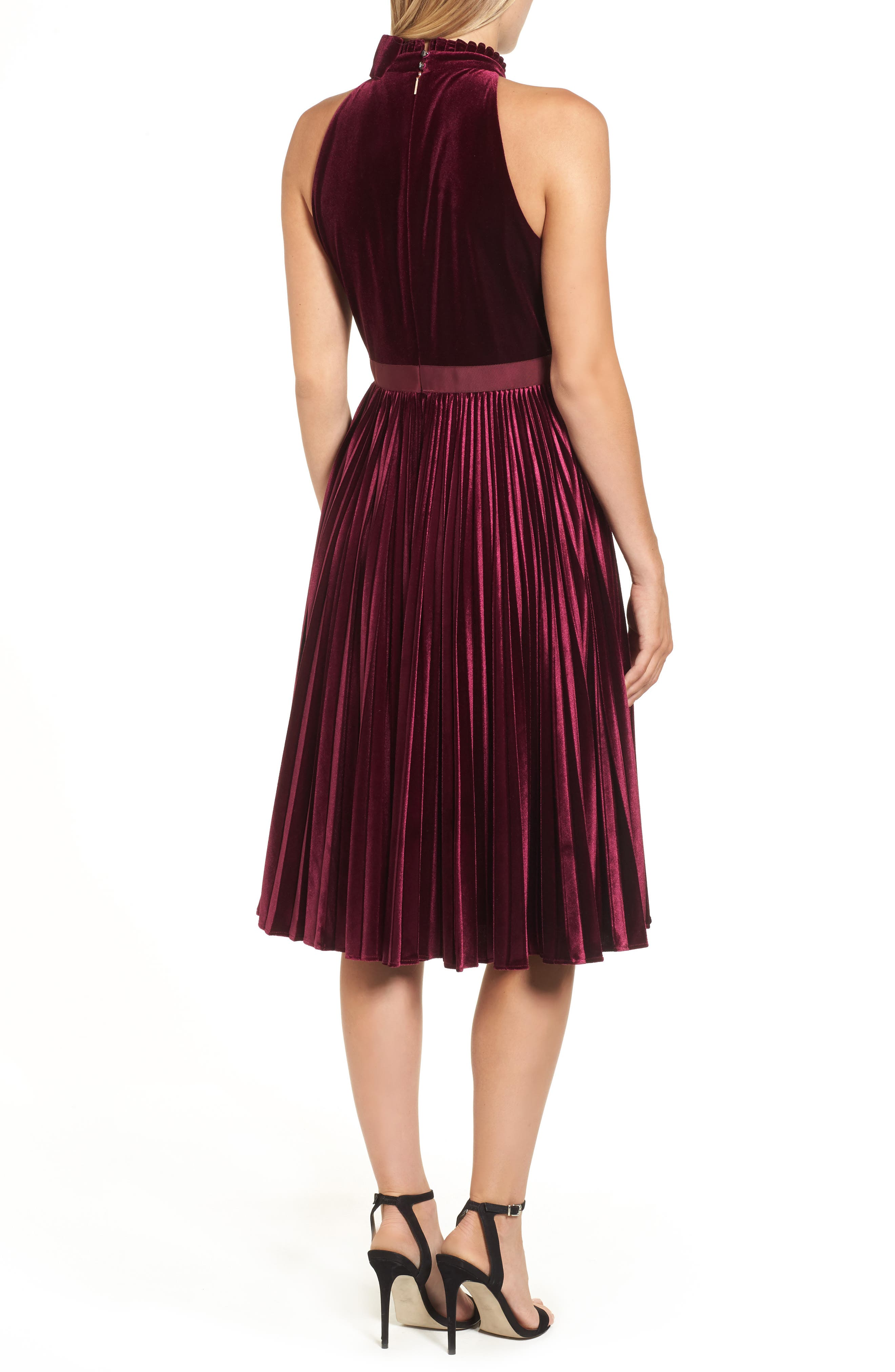 Cornela Pleated Velvet Dress,                             Alternate thumbnail 2, color,