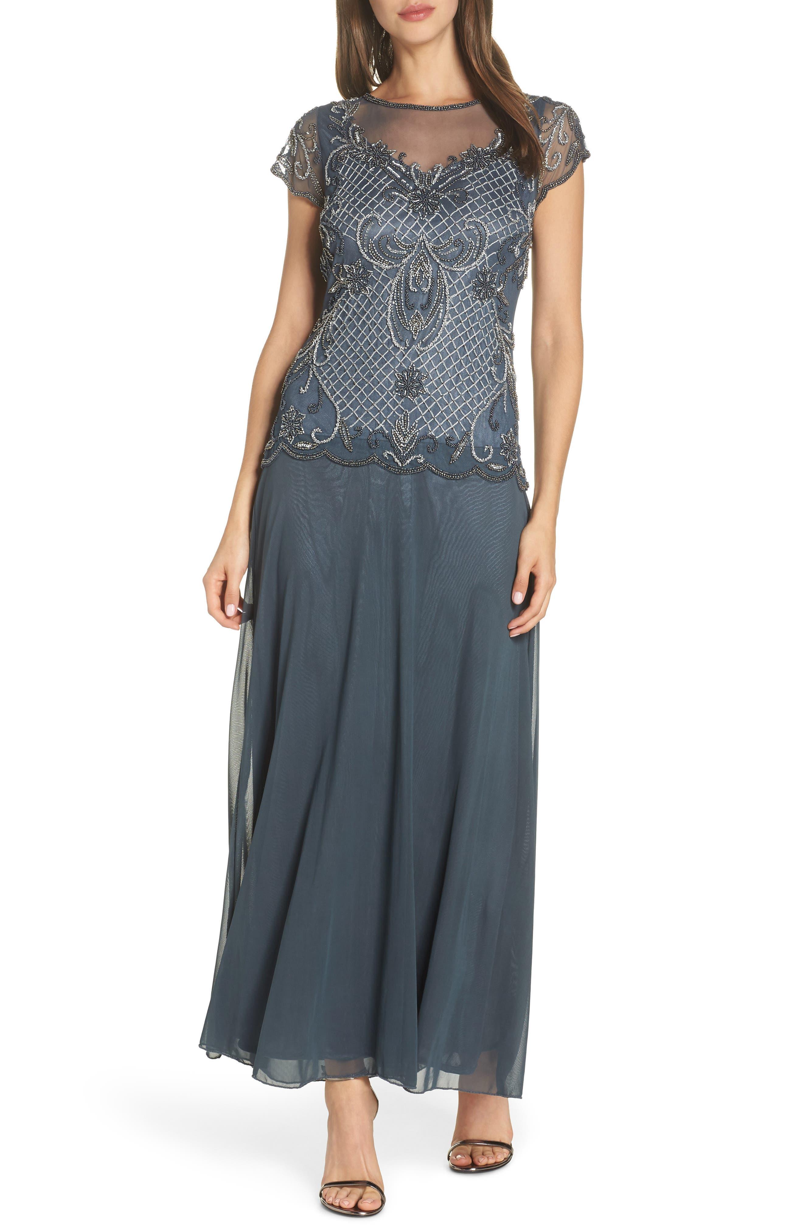 Mock Two-Piece Beaded Bodice Evening Dress, Main, color, SLATE