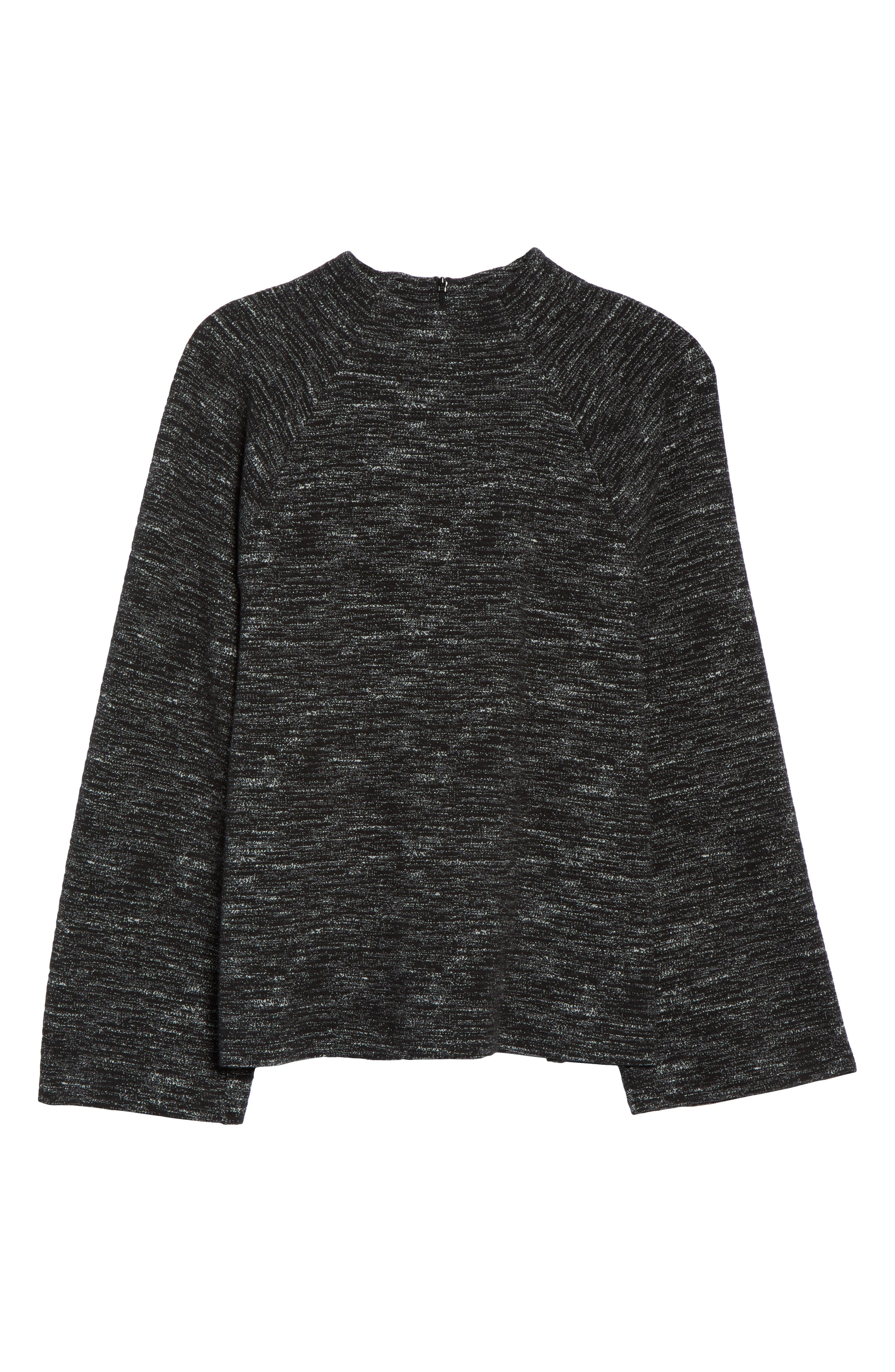 Bell Sleeve Ponte Top,                             Alternate thumbnail 6, color,                             001