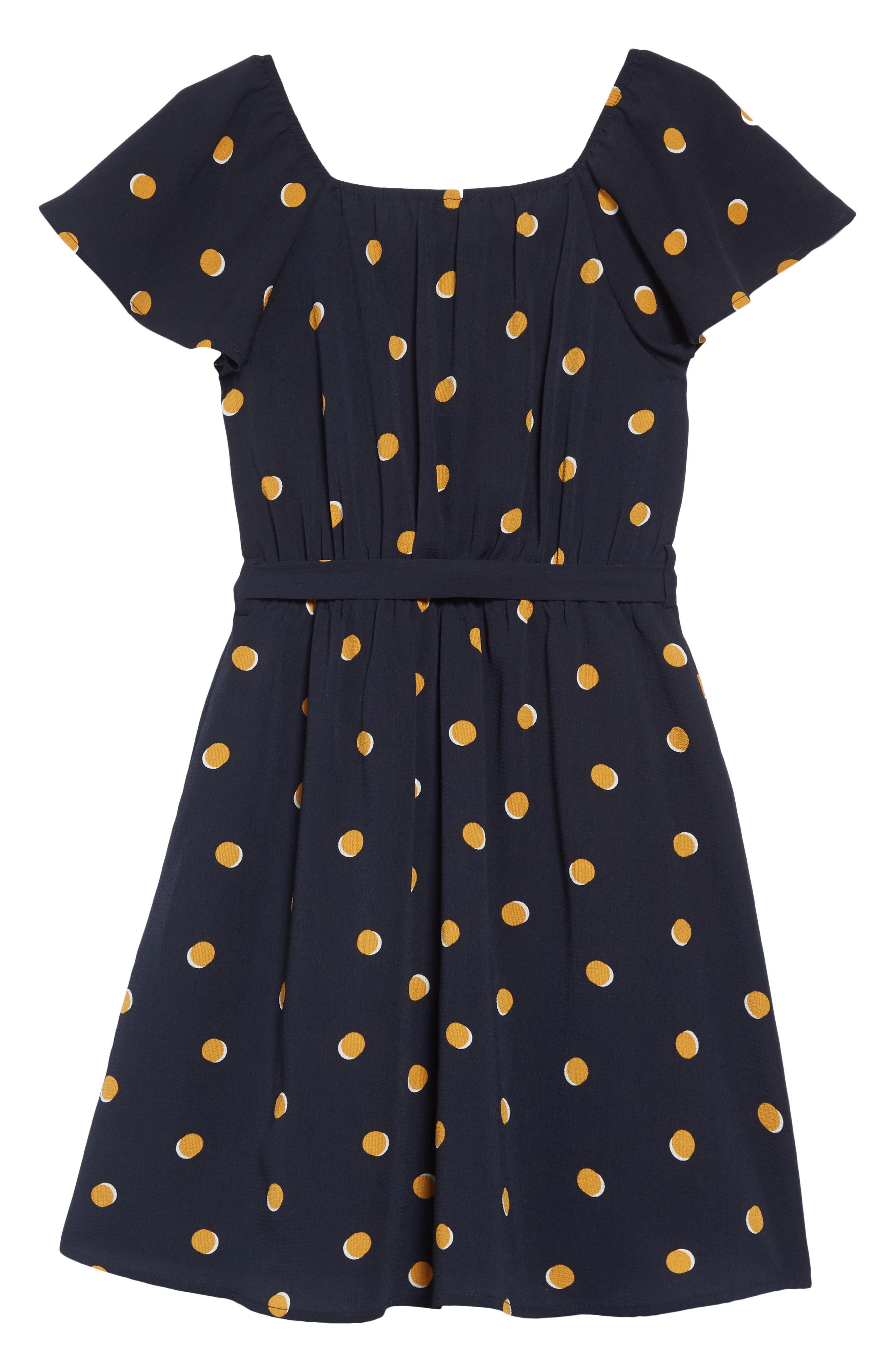 Polka Dot Flutter Sleeve Dress,                             Alternate thumbnail 2, color,                             NAVY/MUSTARD