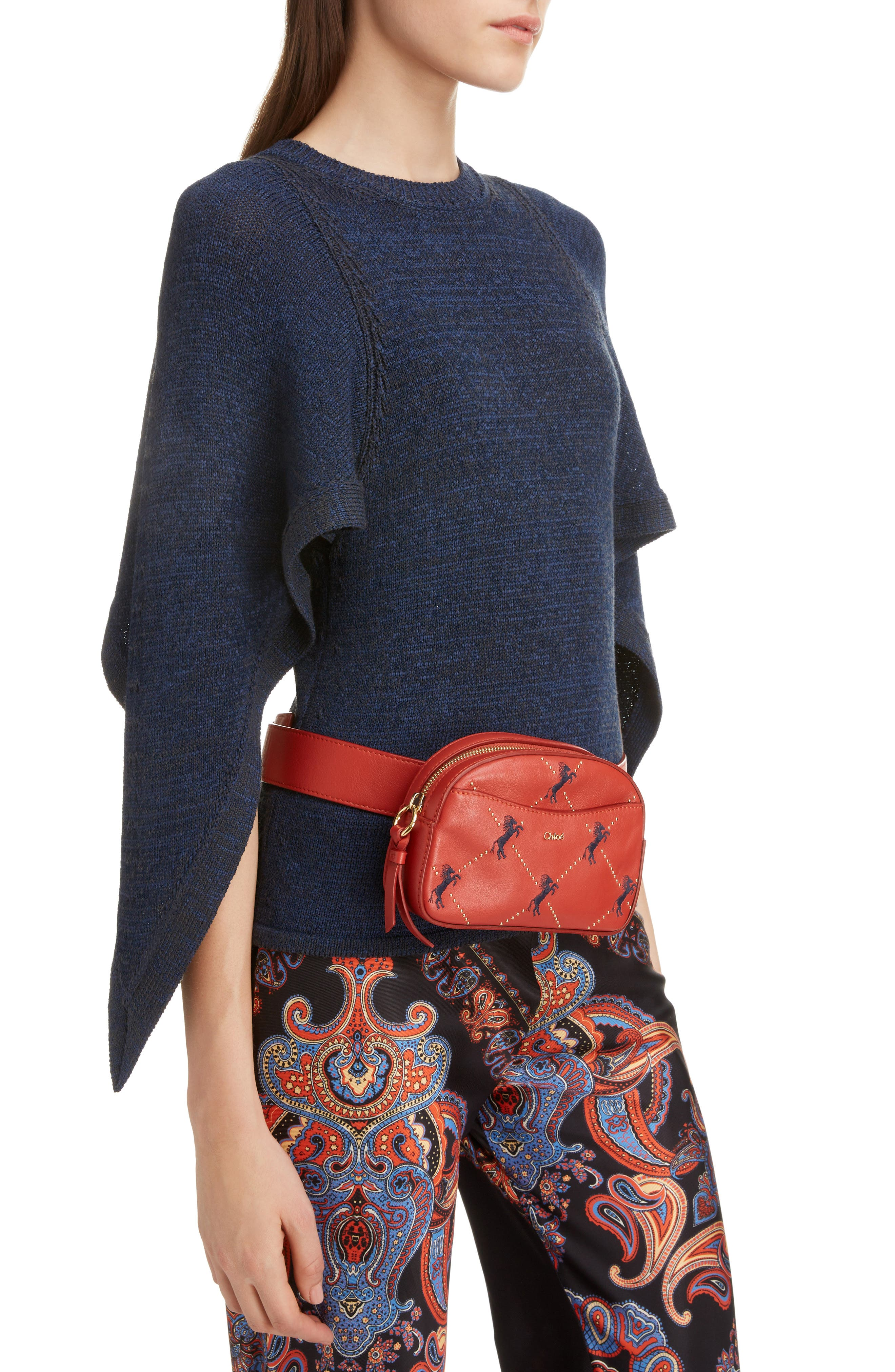 Embroidered Horse Leather Belt Bag,                             Alternate thumbnail 2, color,                             EARTHY RED