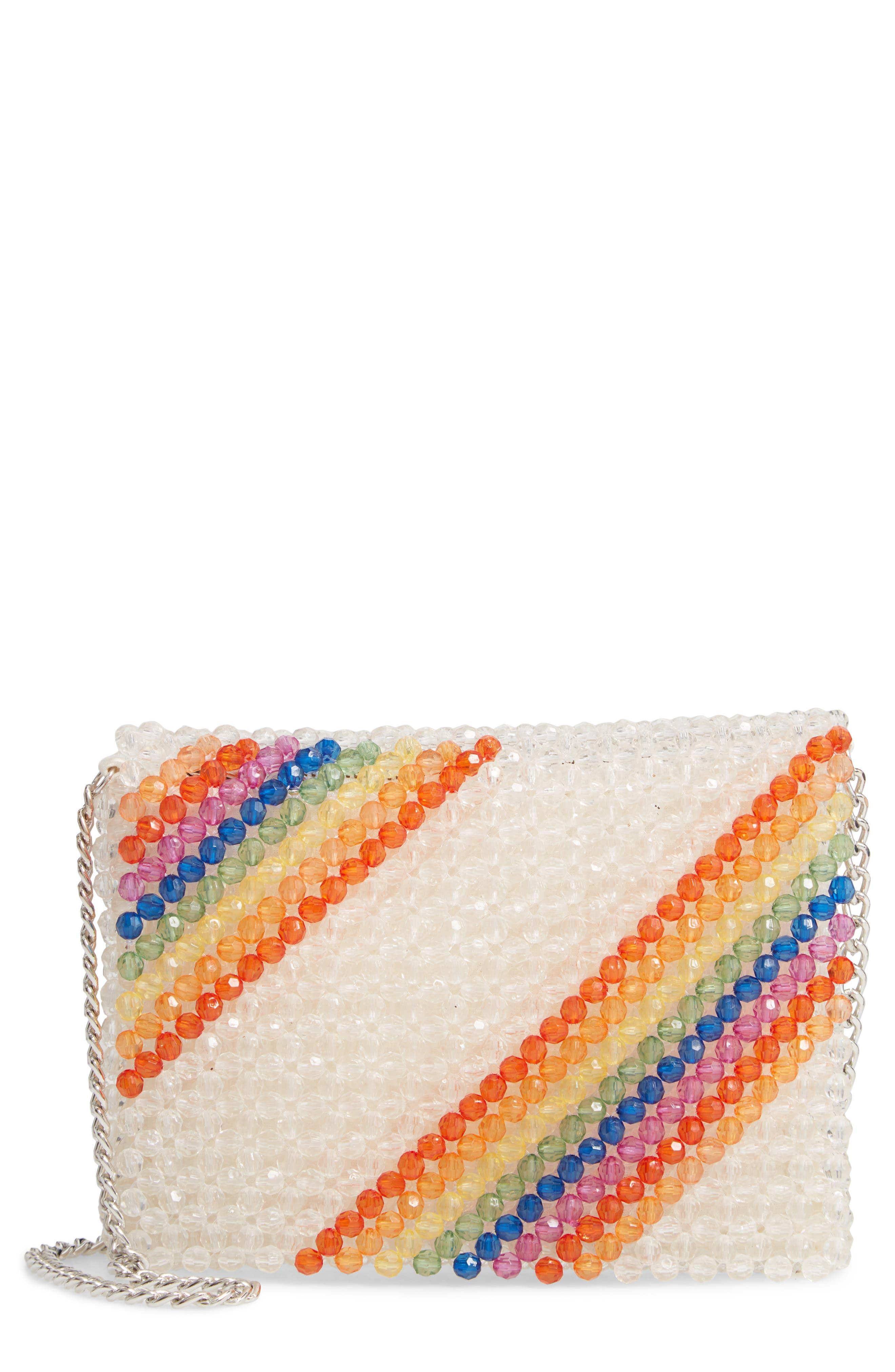 Zizi Beaded Rainbow Shoulder Bag,                             Main thumbnail 1, color,                             100