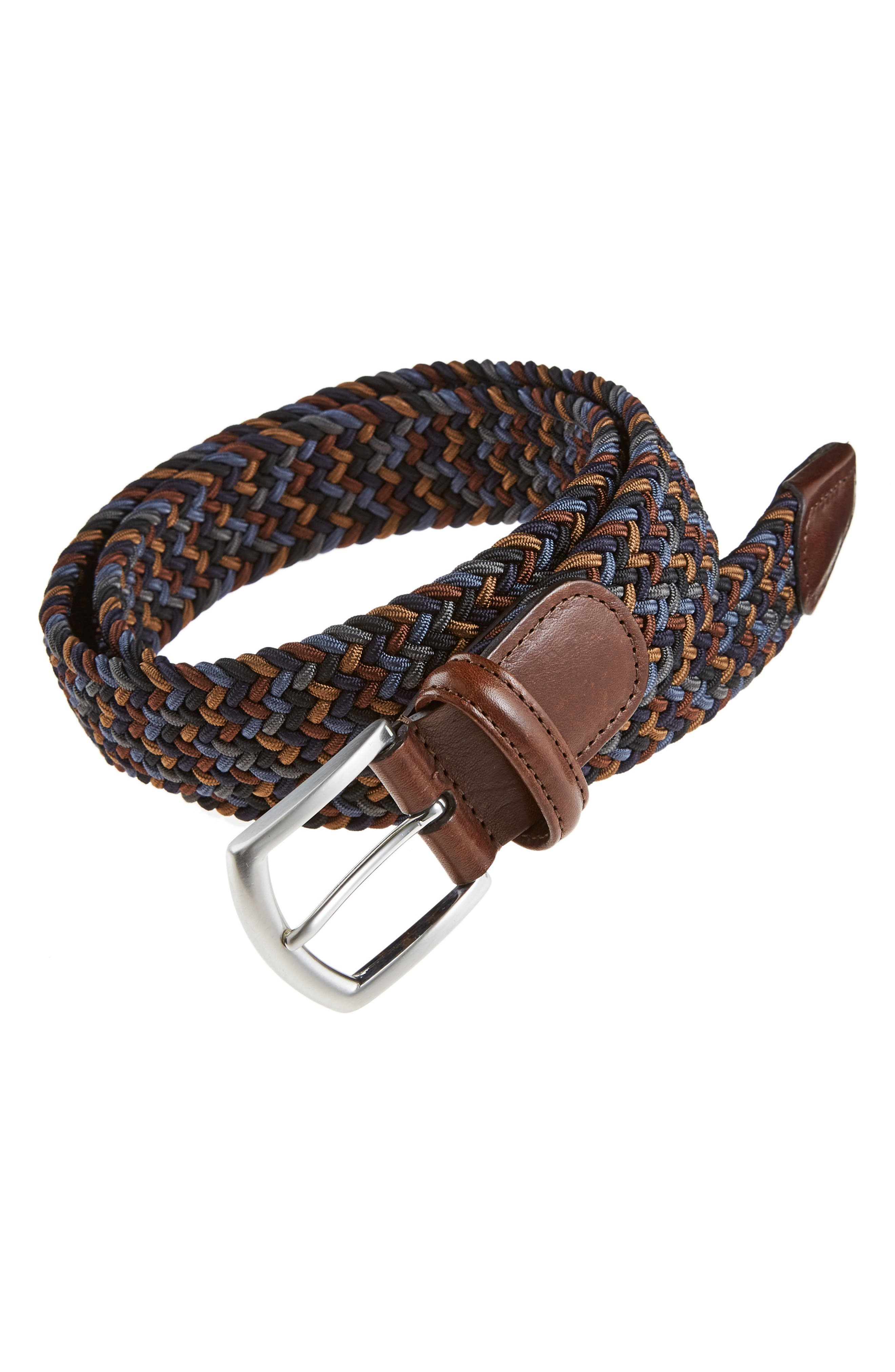 Andersons Multi-Color Stretch Woven Leather,                             Main thumbnail 1, color,                             BROWN MULTI