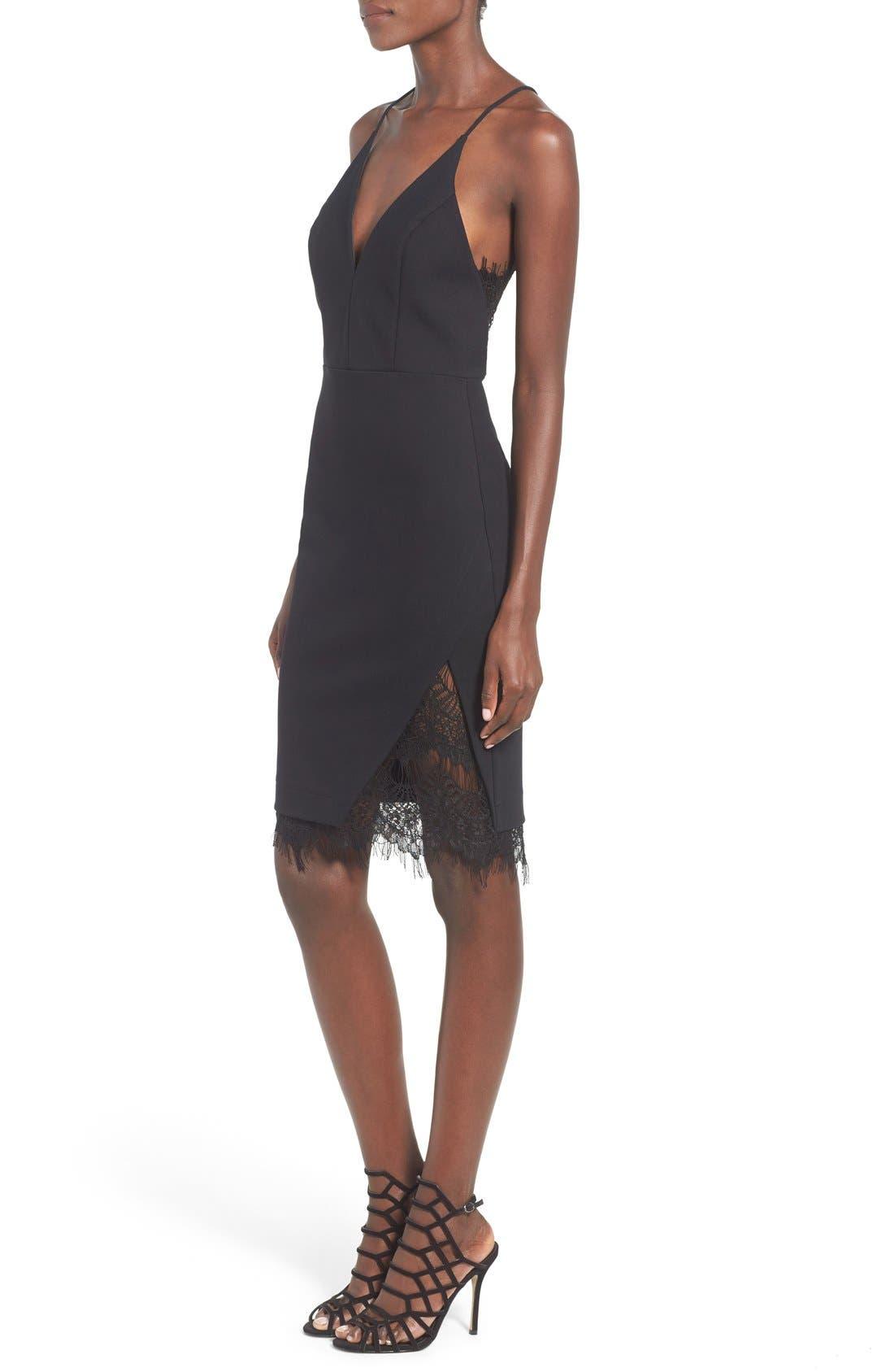 Lace Body-Con Dress,                             Alternate thumbnail 3, color,                             001