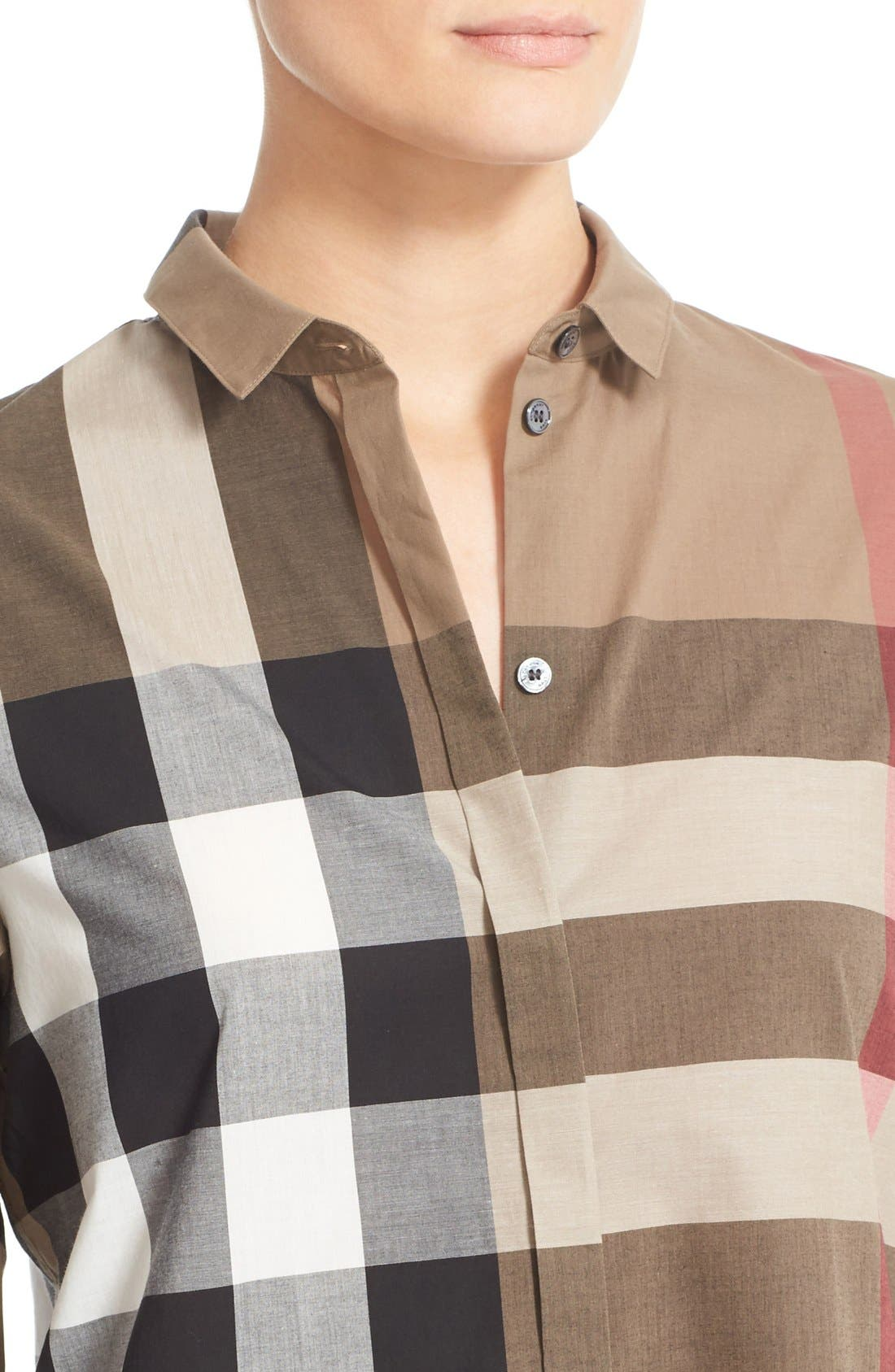 Check Pattern Cotton Shirt,                             Alternate thumbnail 6, color,                             TAUPE BROWN