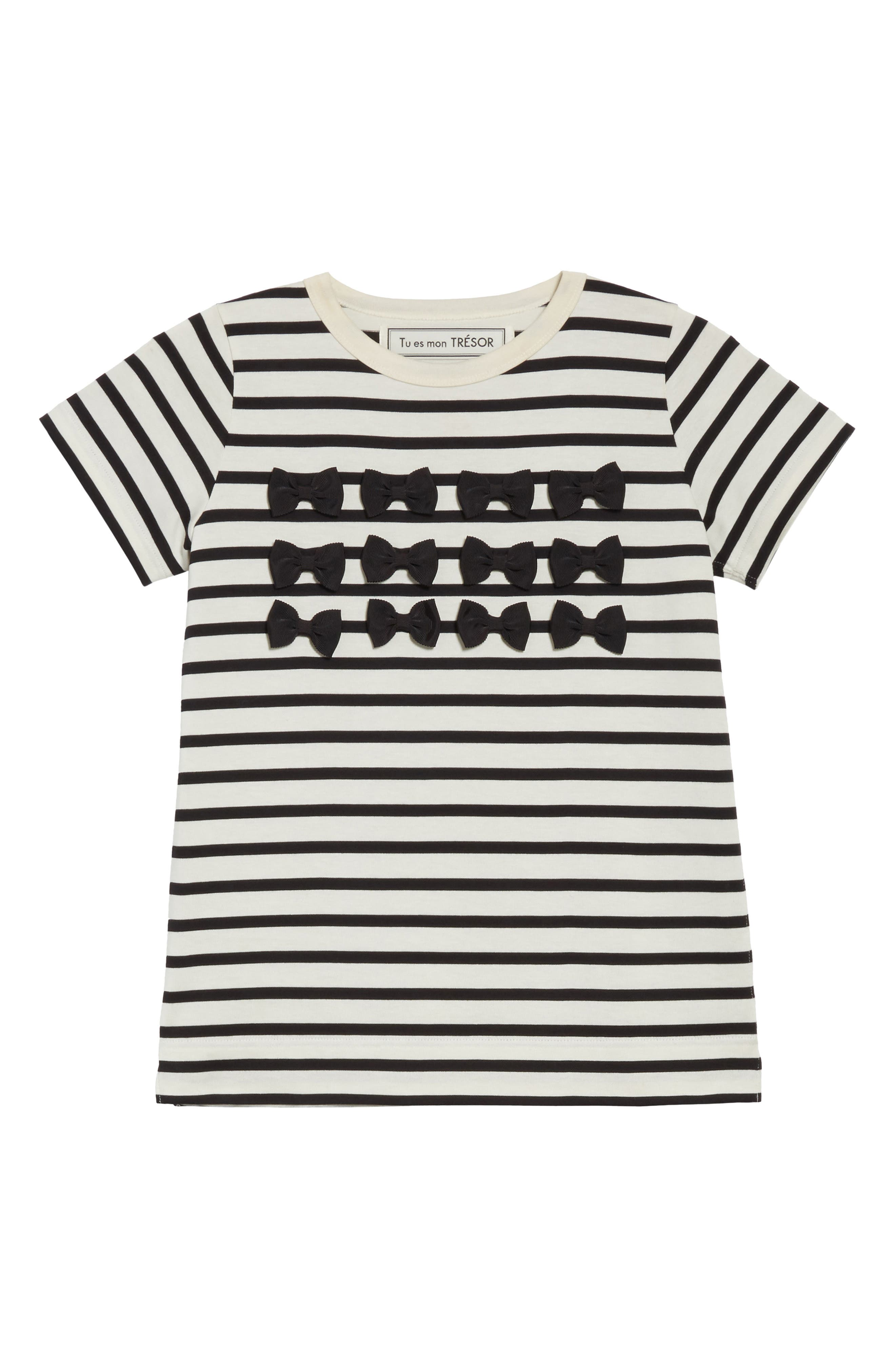 Grosgrain Bow Stripe Tee,                             Alternate thumbnail 6, color,                             900
