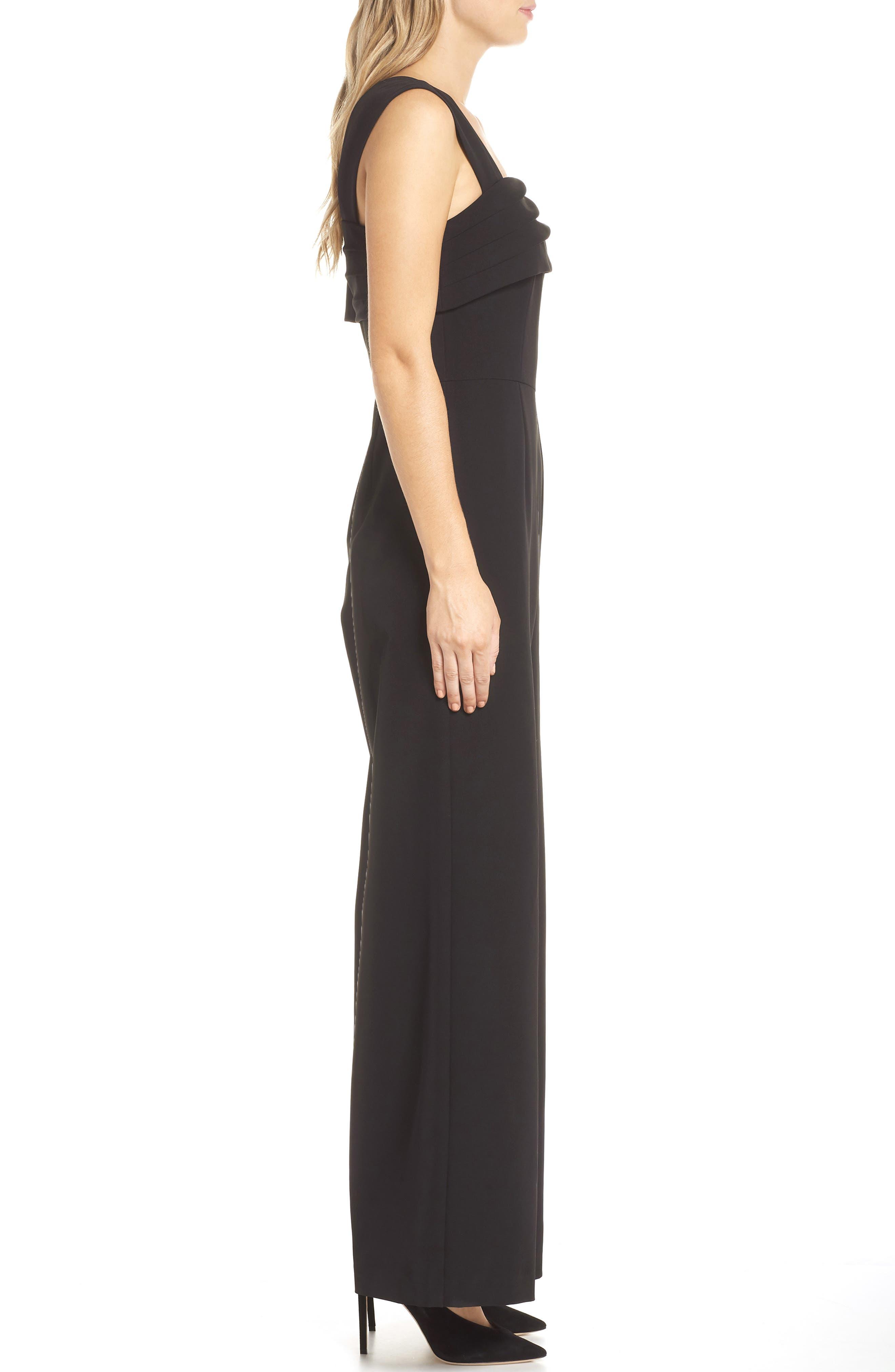 Asymmetrical Neckline Jumpsuit,                             Alternate thumbnail 3, color,                             BLACK