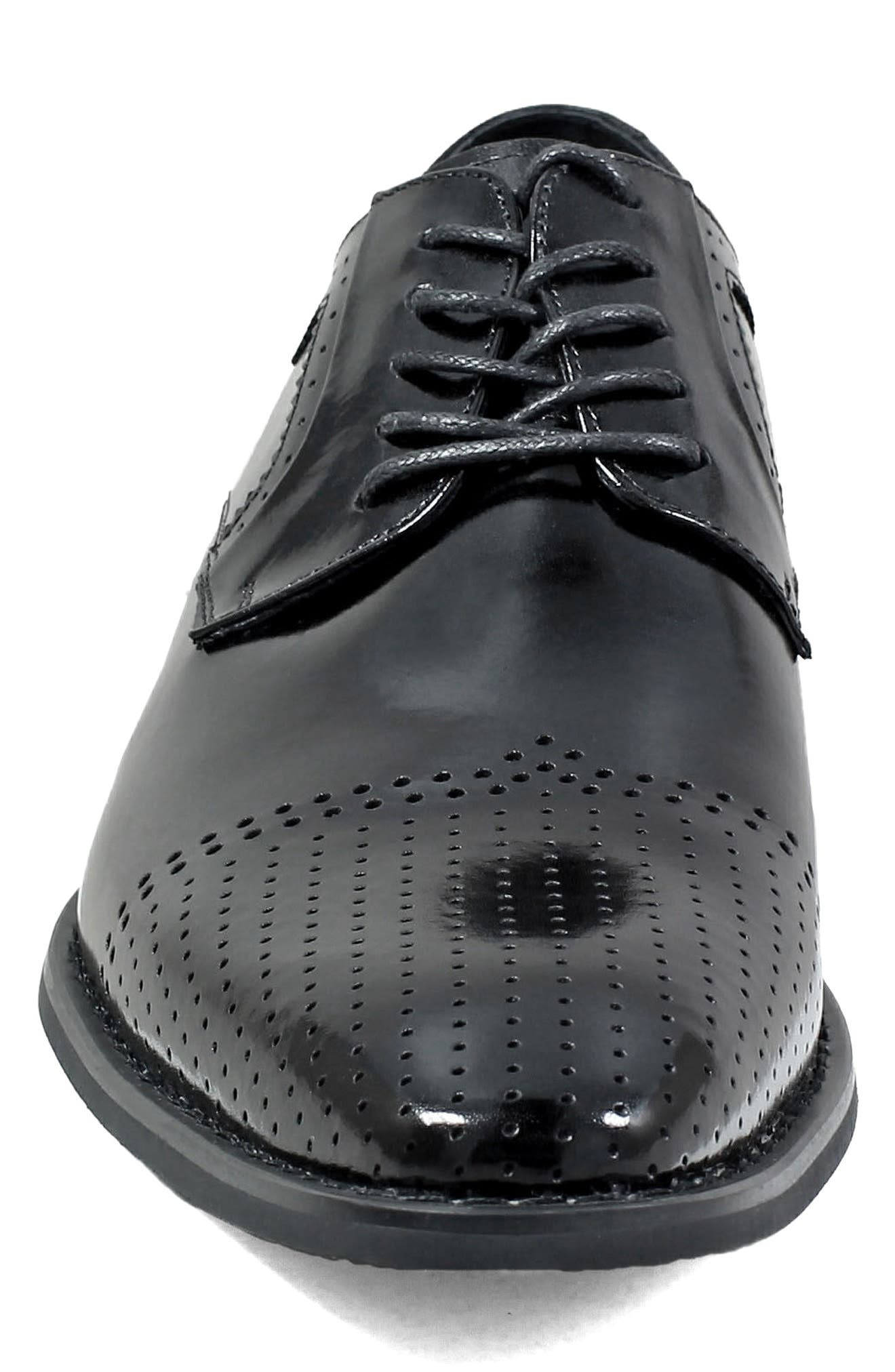 Sanborn Perforated Cap Toe Derby,                             Alternate thumbnail 4, color,                             BLACK LEATHER