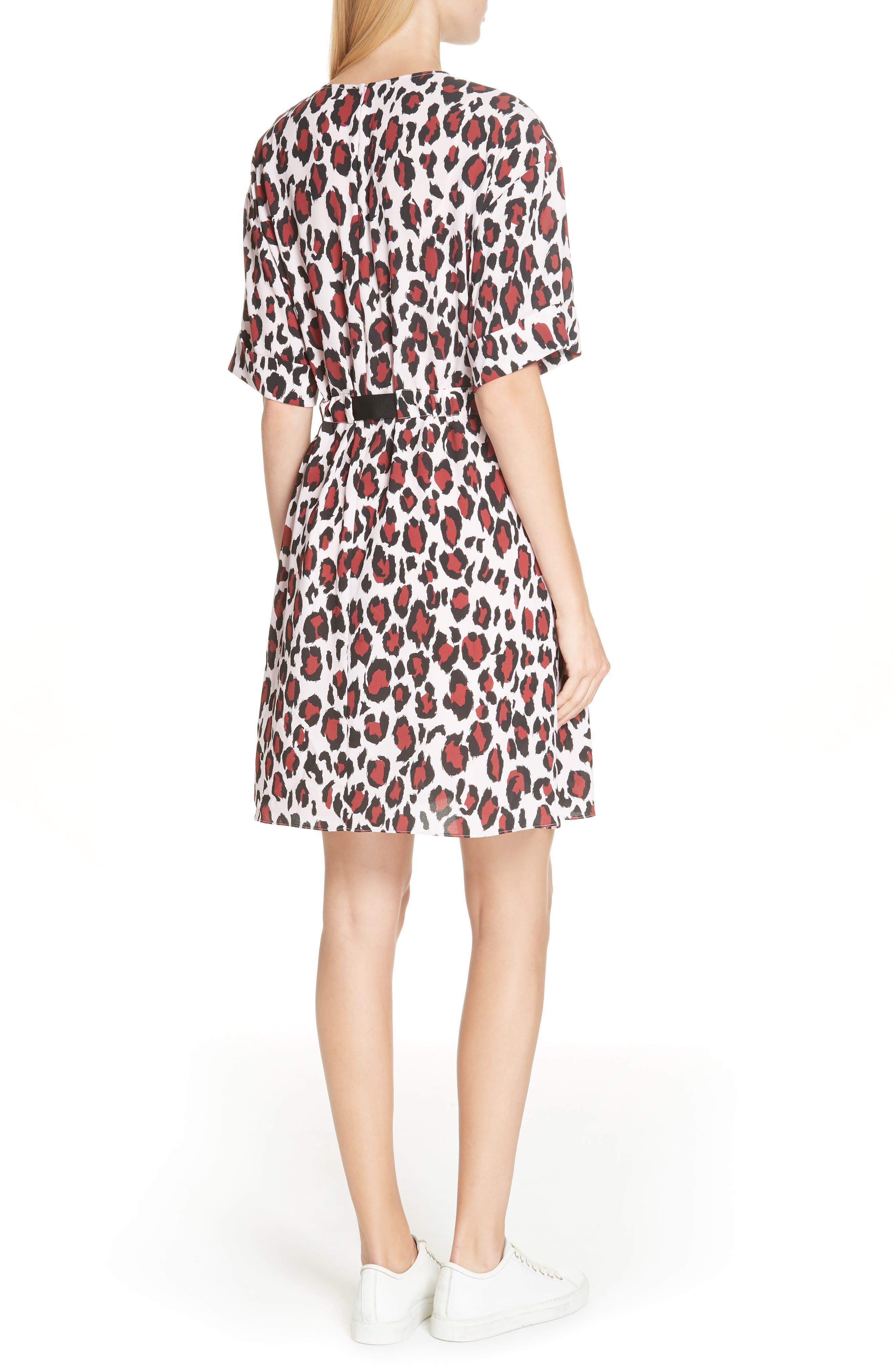 Animal Print Belted Dress,                             Alternate thumbnail 2, color,                             PINK