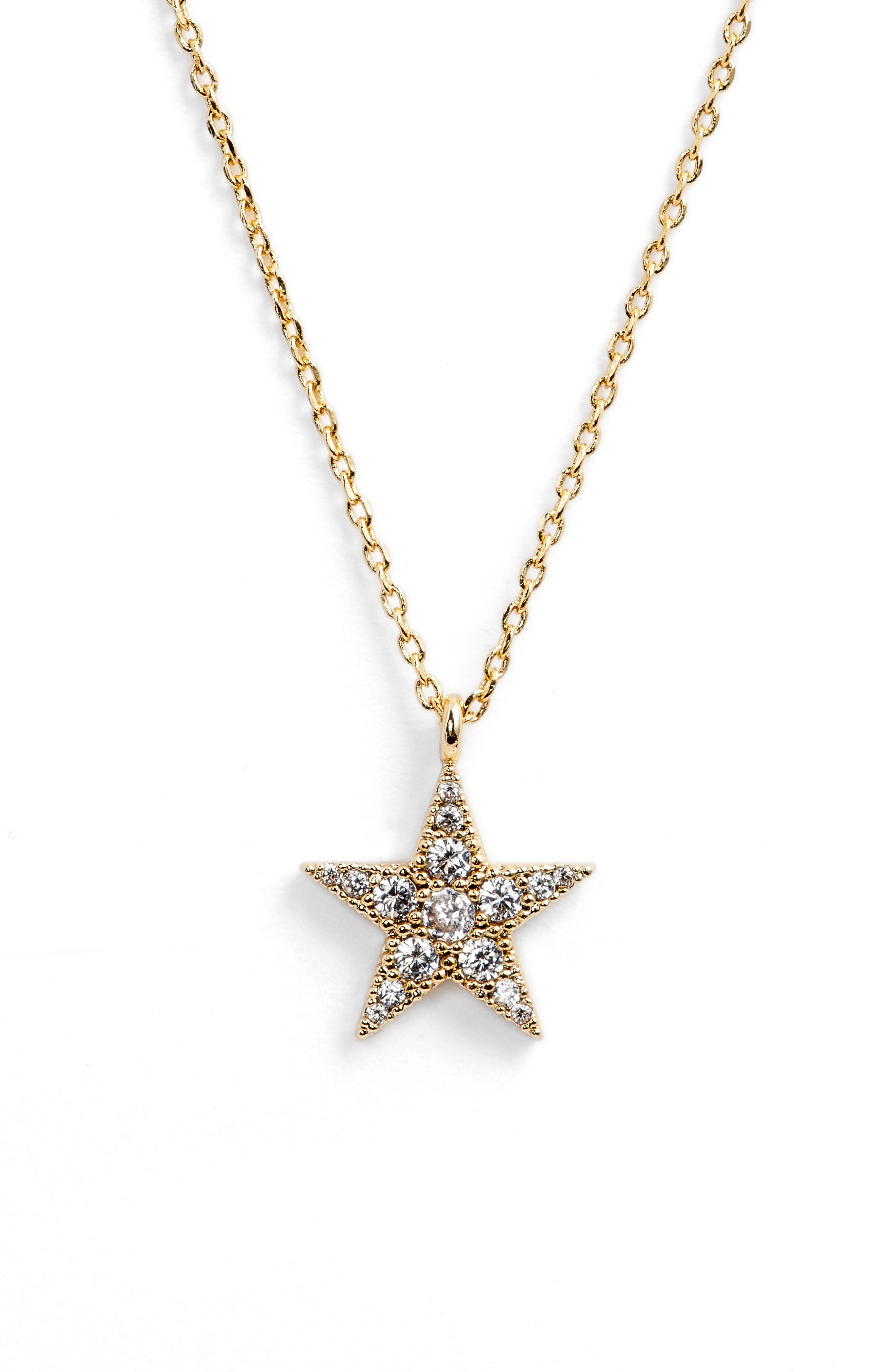 Granulated Star Necklace,                         Main,                         color, GOLD CZ/ GUNMETAL
