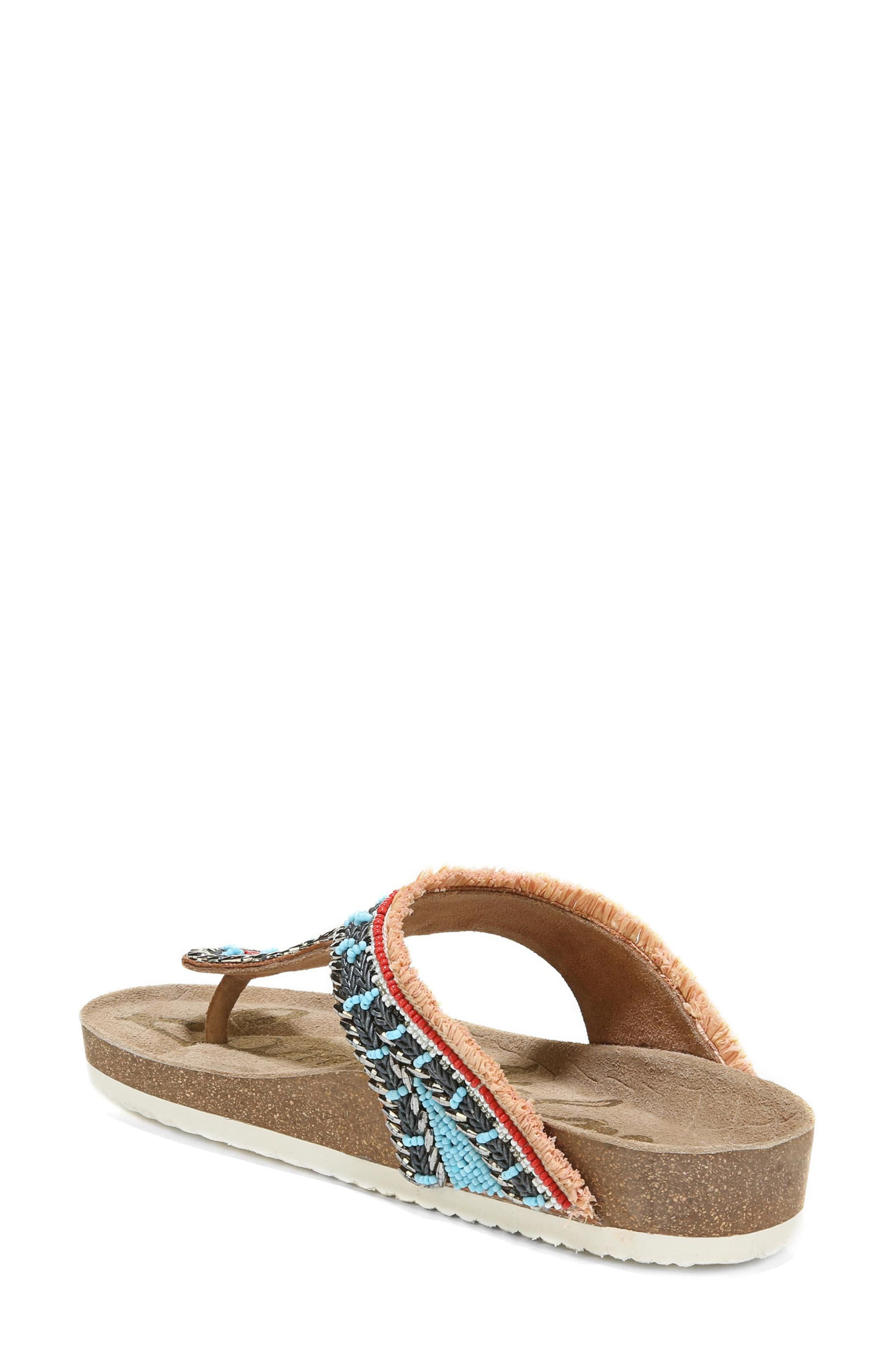Olivie Beaded Flip Flop,                             Alternate thumbnail 2, color,                             SADDLE/ BLUE MULTI