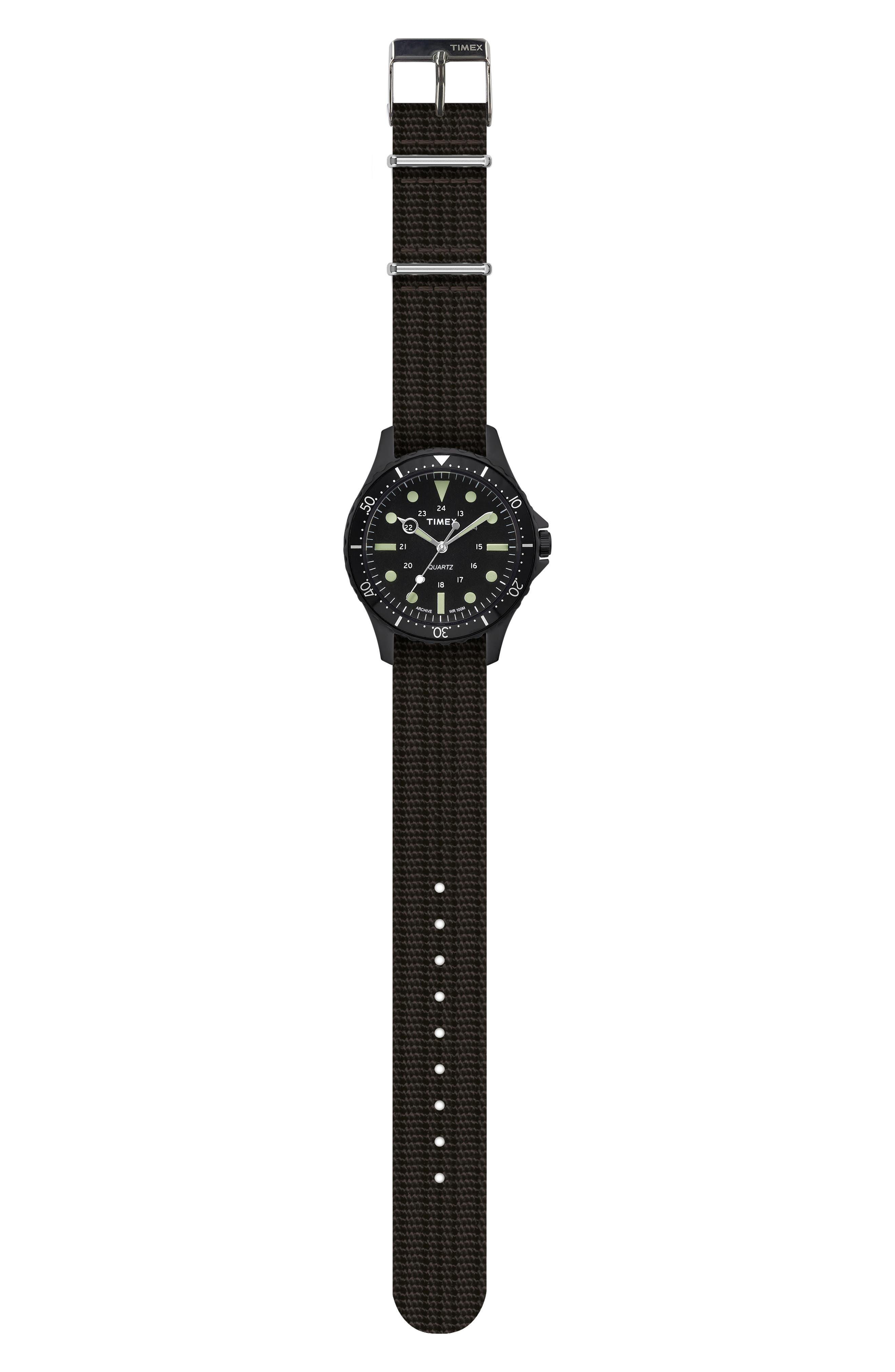 Timex<sup>®</sup> Navi Harbor NATO Strap Watch, 38mm,                             Alternate thumbnail 2, color,                             BLACK