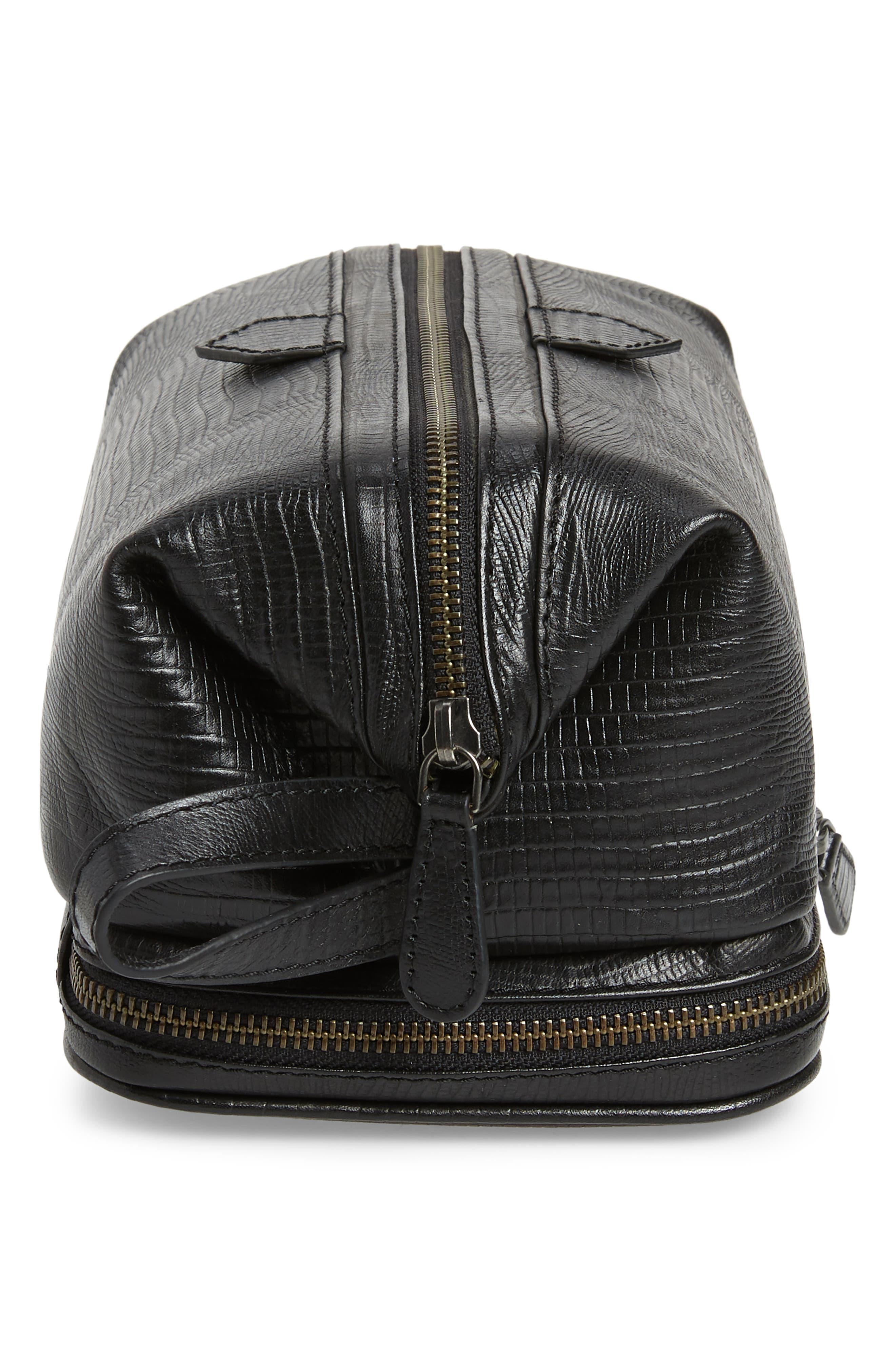 TED BAKER LONDON,                             Leather Travel Kit,                             Alternate thumbnail 4, color,                             BLACK