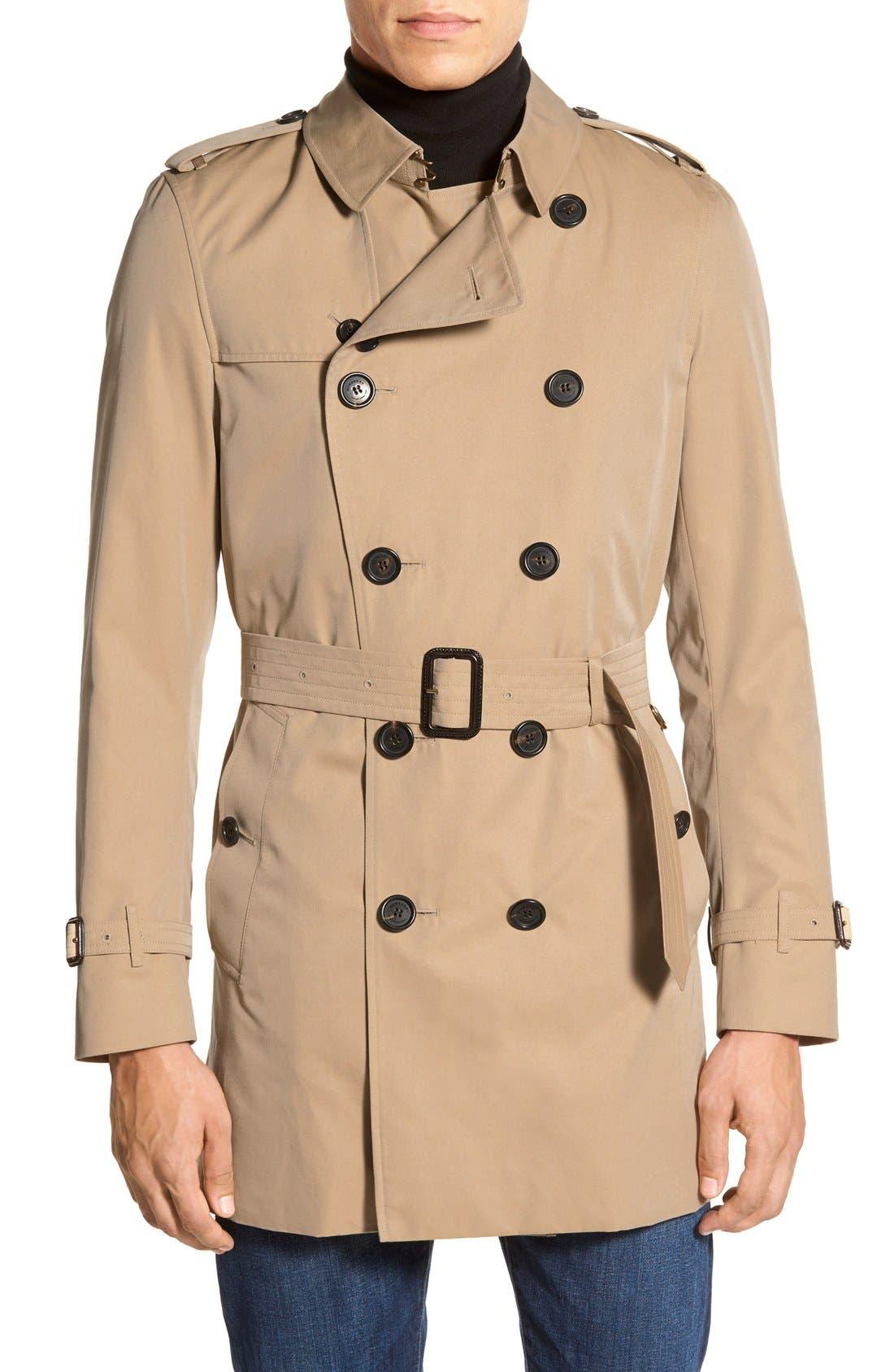 Kensington Double Breasted Trench Coat,                             Main thumbnail 1, color,                             HONEY