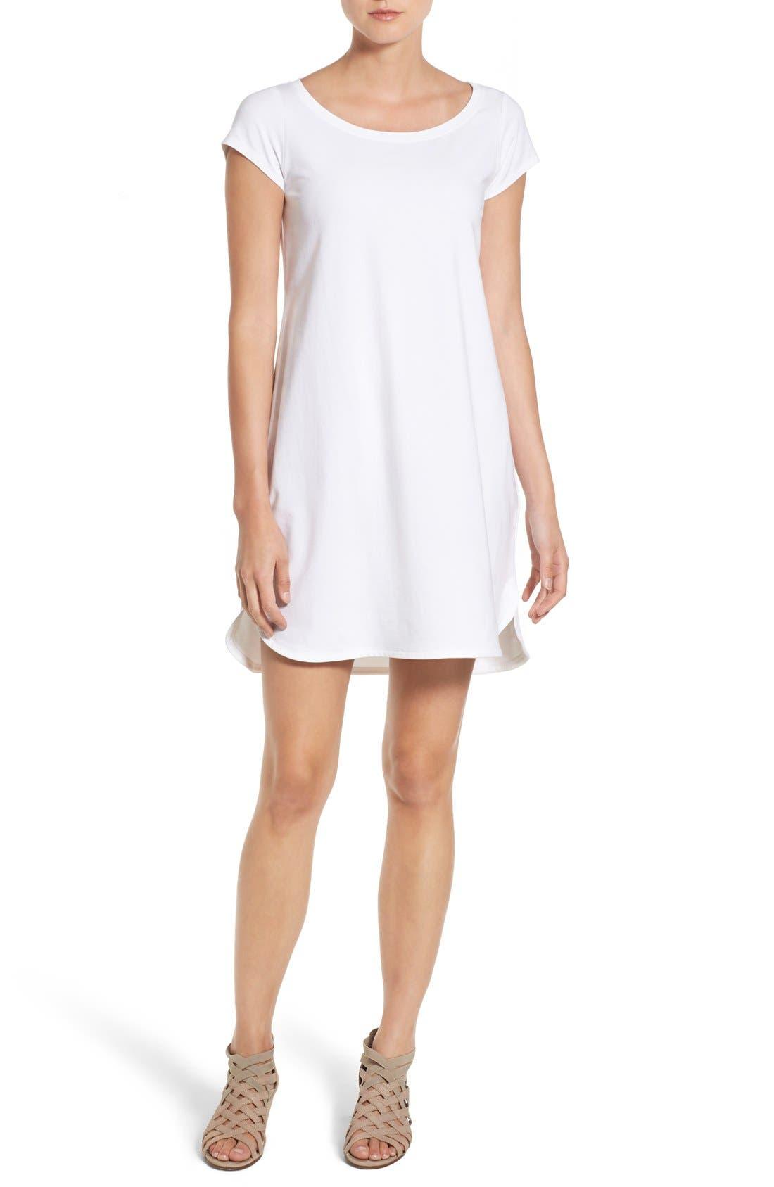 Stretch Cotton Shift Dress,                             Main thumbnail 5, color,