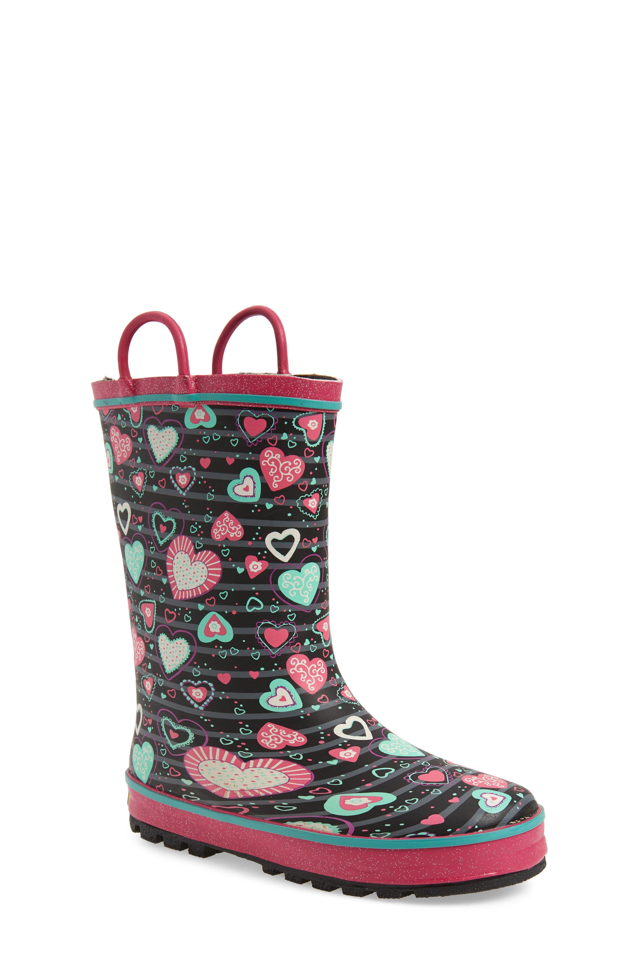 Neon Hearts Glitter Trim Waterproof Rain Boot,                             Main thumbnail 1, color,                             MULTI