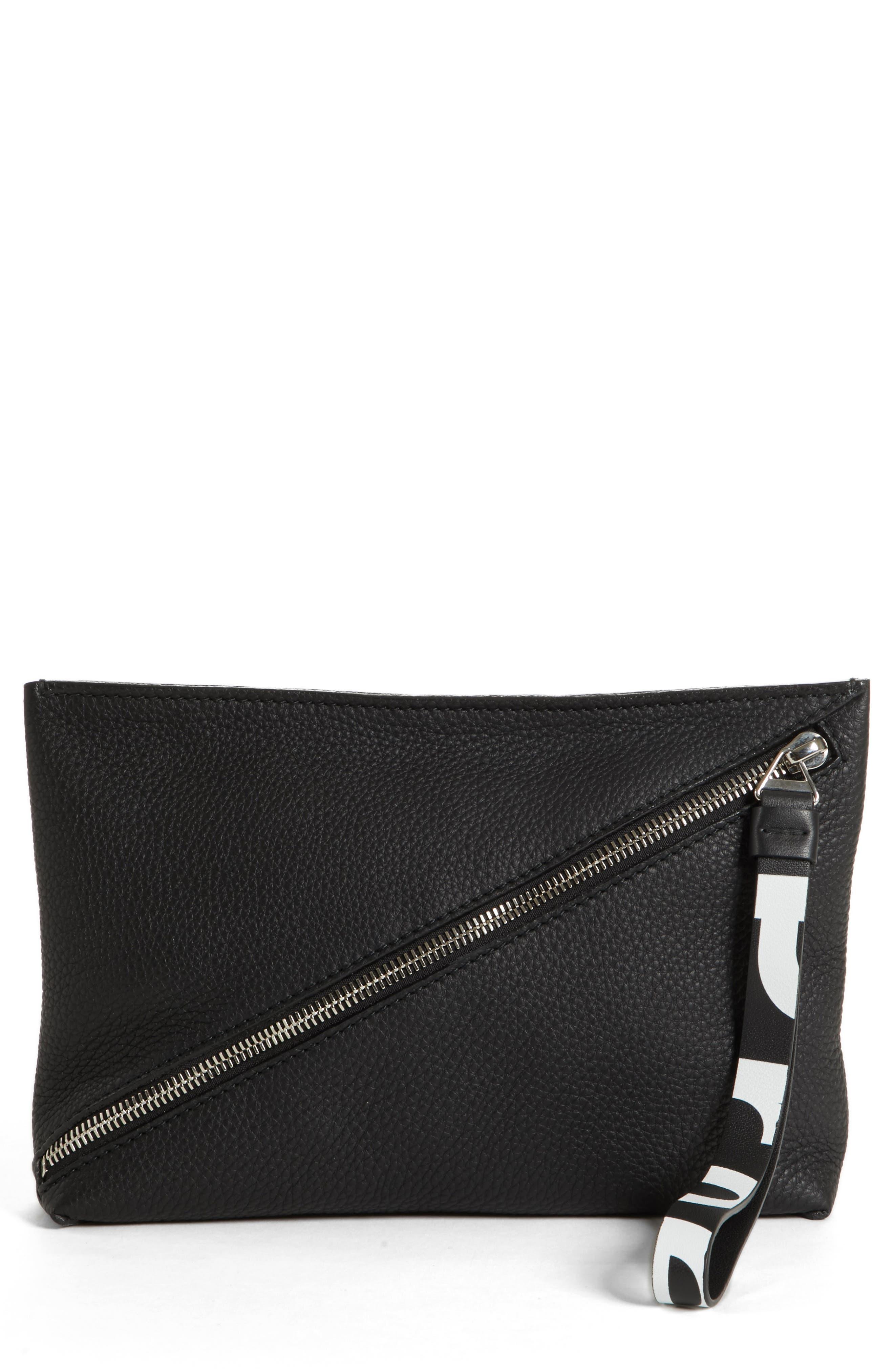 Diagonal Zip Leather Pouch,                             Main thumbnail 1, color,                             001