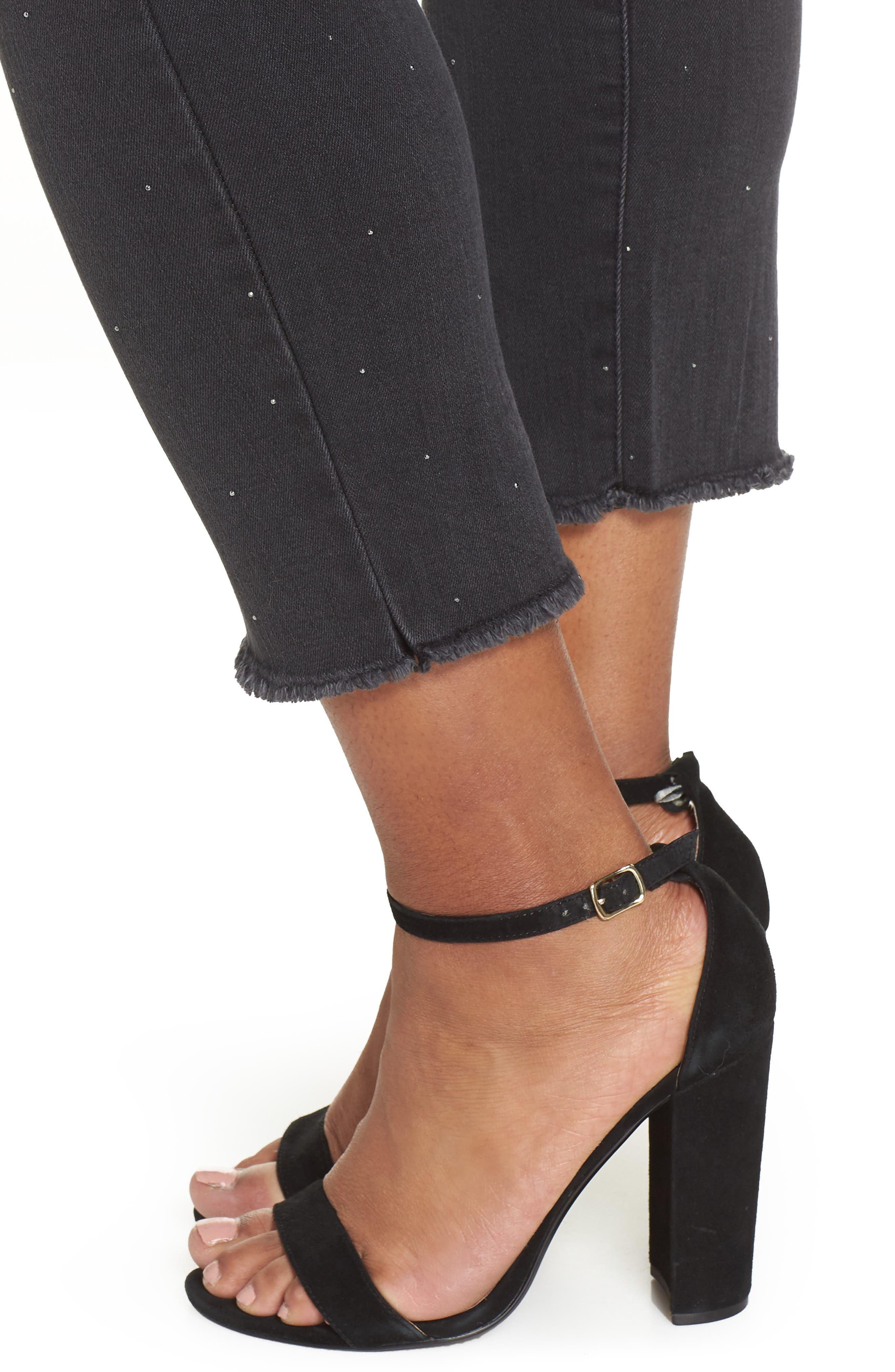 Ab-Solution Embellished Ankle Jeans,                             Alternate thumbnail 4, color,                             BLACK