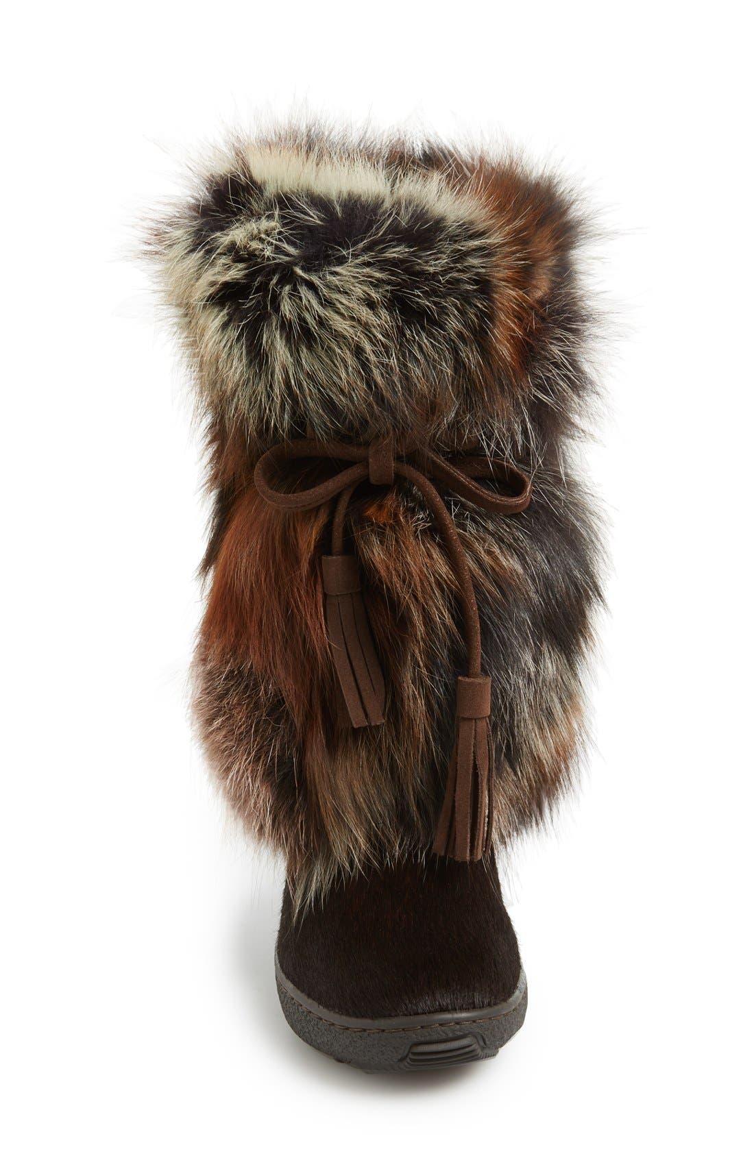 'Fox Trot' Genuine Fox Fur & Calf Hair Boot,                             Alternate thumbnail 6, color,