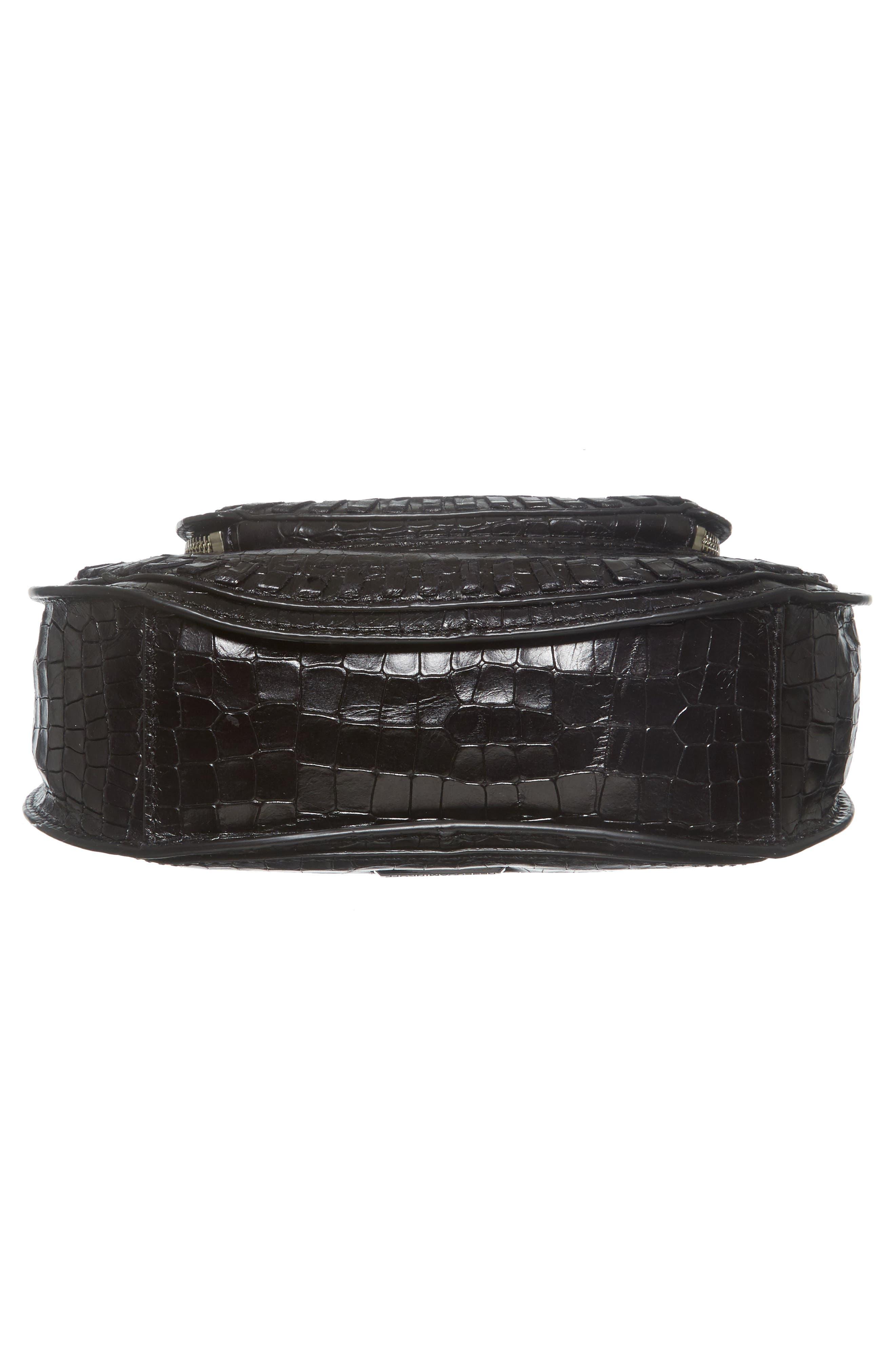 Vanity Croc-Embossed Leather Saddle Bag,                             Alternate thumbnail 6, color,